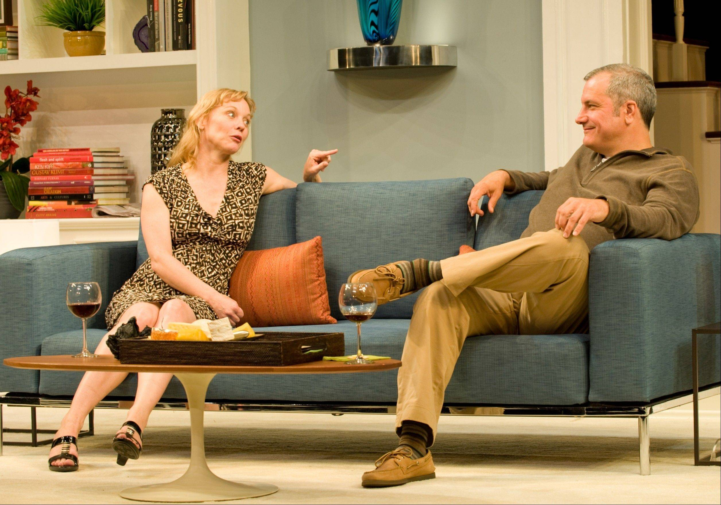 "Recently fired Margy (Mariann Mayberry) catches up with her old flame Mike (Keith Kupferer), a successful fertility specialist, in Steppenwolf Theatre's Chicago area premiere of ""Good People."""