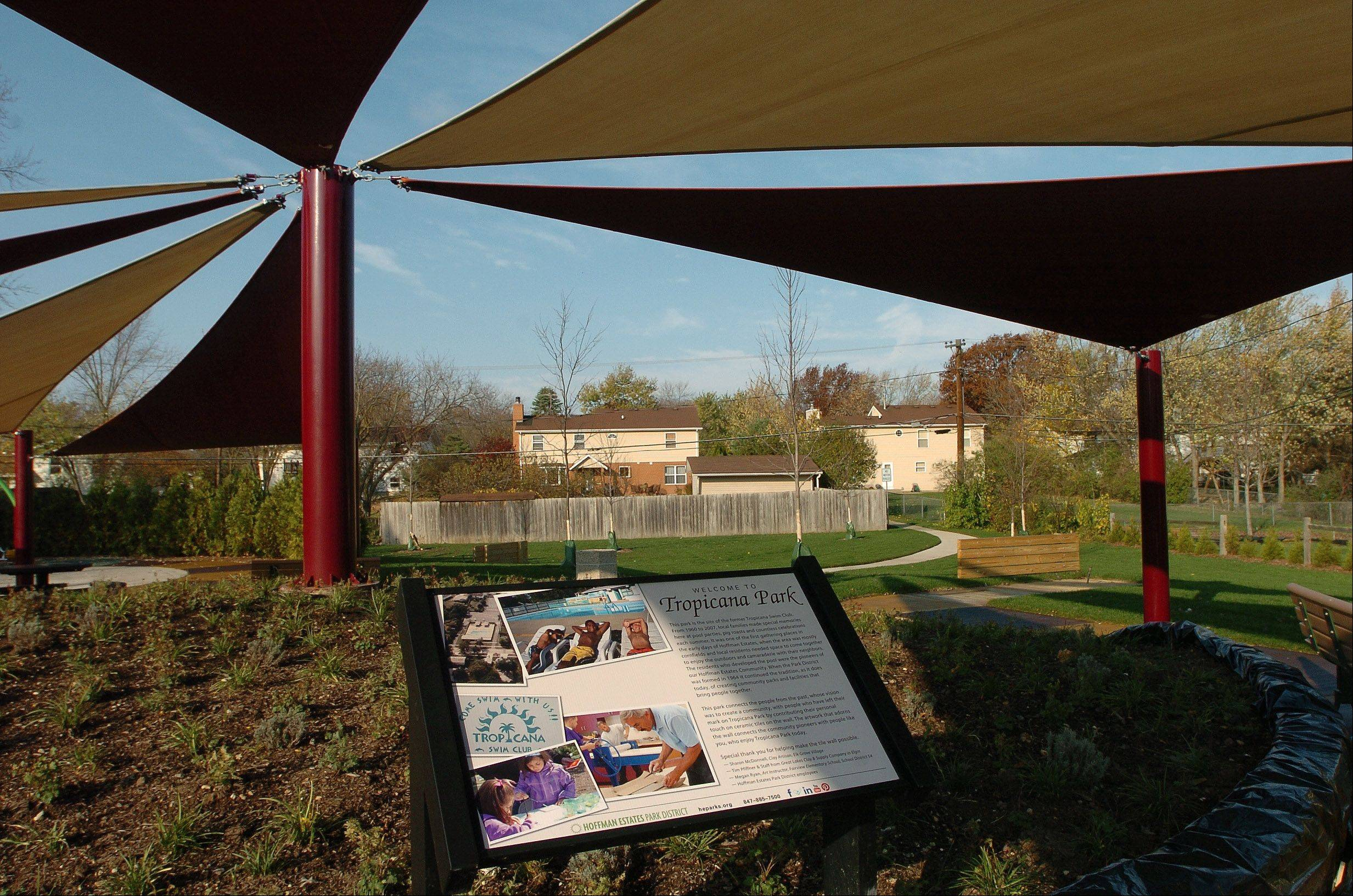 The fabric shade shelter is one of the key details of Tropicana Park in Hoffman Estates, created with community input on the site of a former swim club that fell on hard times.