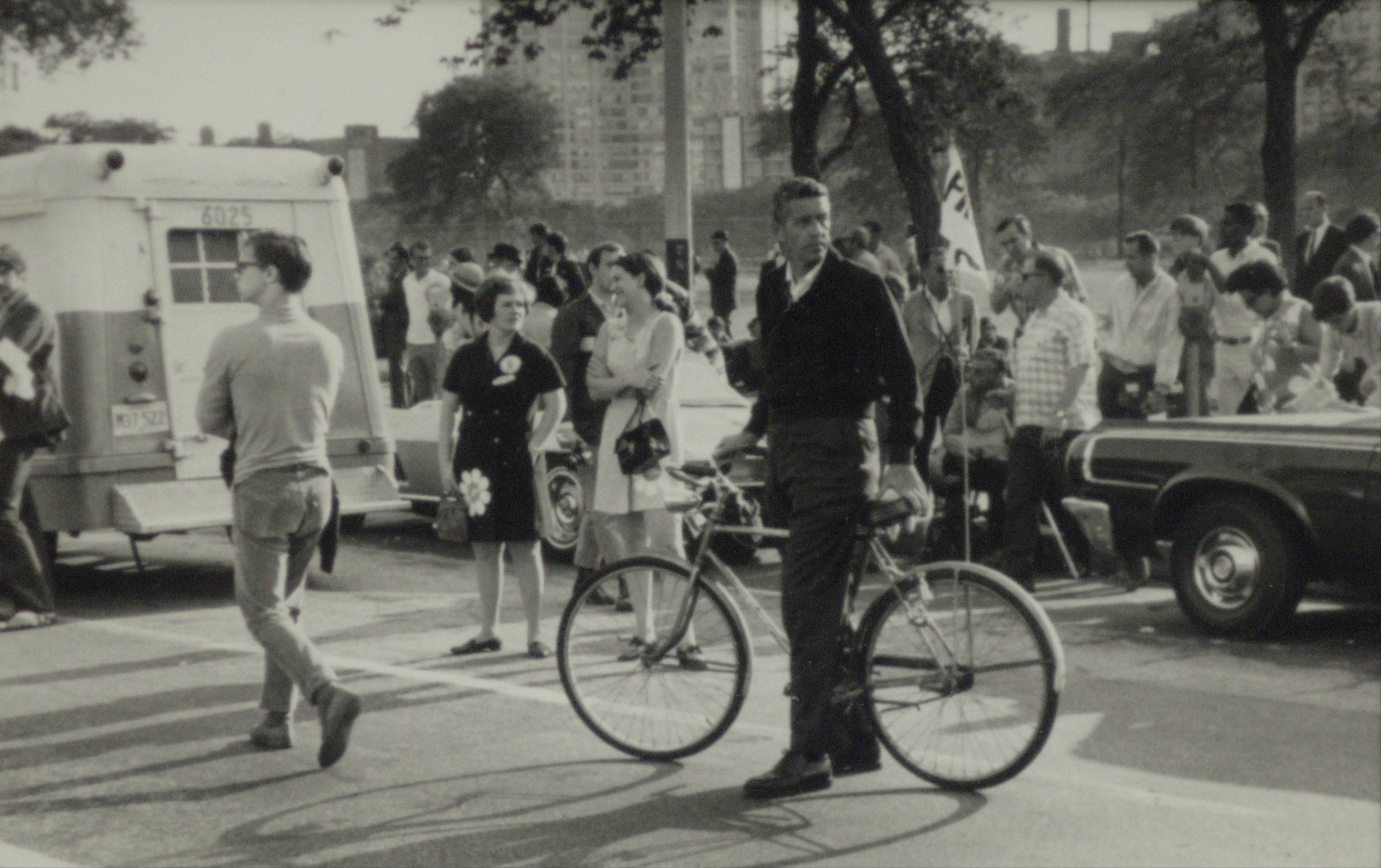 Zipping around on his bike enabled Jack Mabley to fully cover the tumultuous 1968 Democratic Convention in Chicago.
