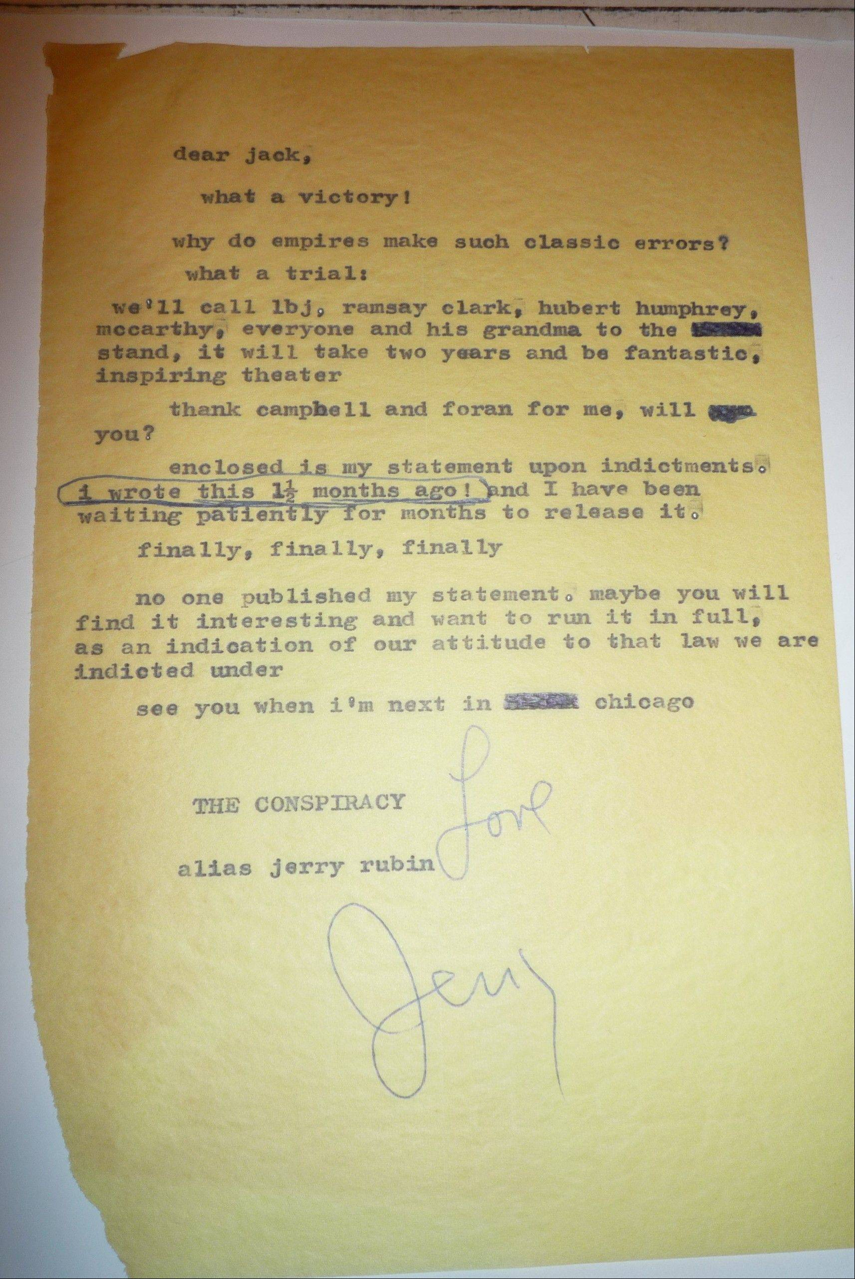 While columnist Jack Mabley received this fan letter from Yippie leader Jerry Rubin, Mabley also received praise from the Chicago police for his coverage of the 1968 Democratic Convention.