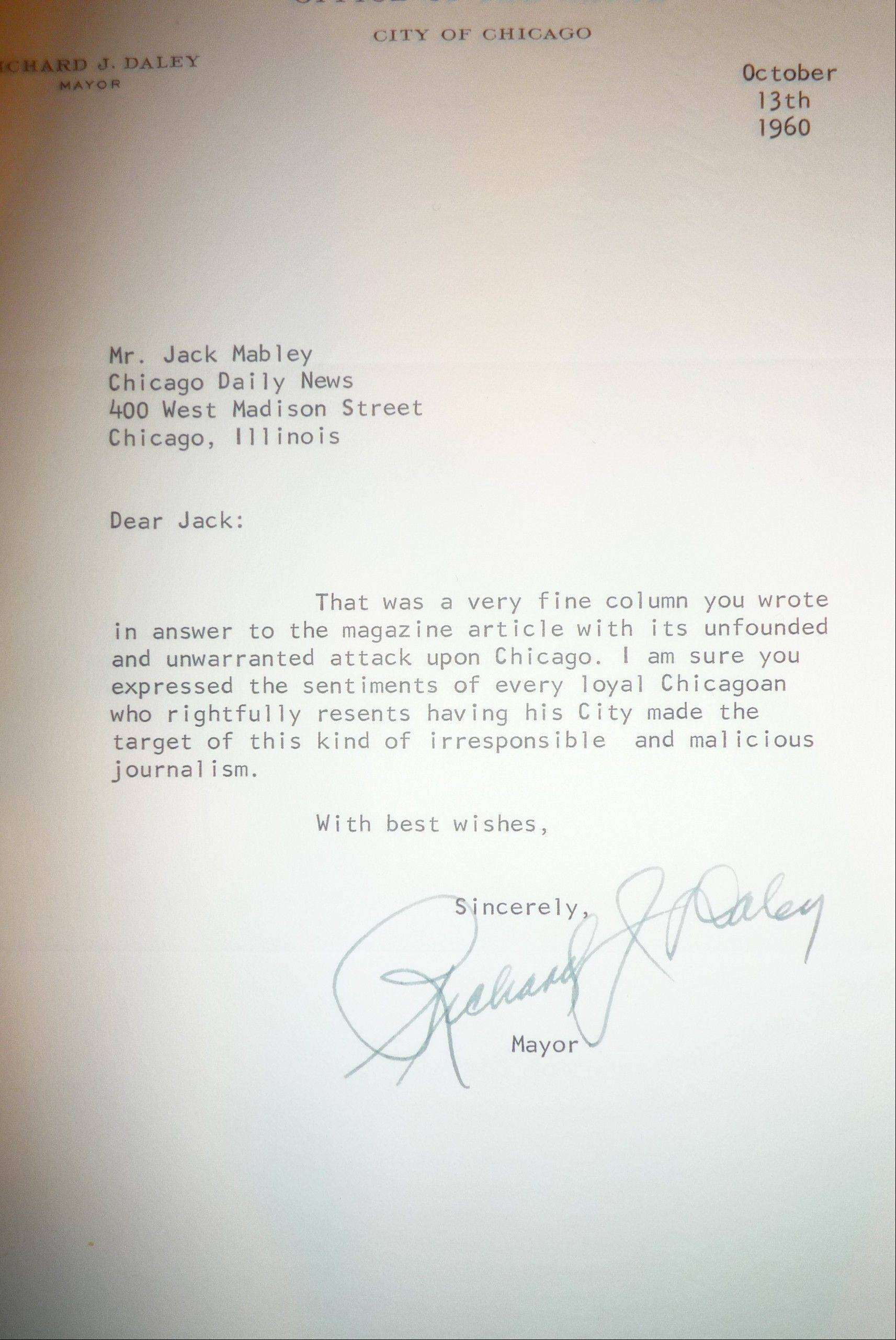 Columnist Jack Mabley received fan letters from a diverse group that including Chicago police, Yippie leader Jerry Rubin and this letter from Chicago's first Mayor Daley.