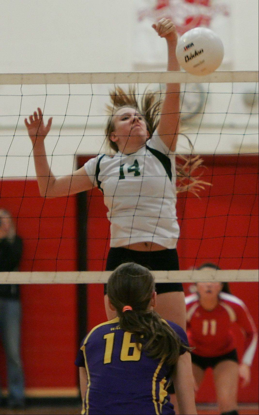 Grayslake Central's Taylor O'Neil attacks during Class 3A regional play Thursday against Wauconda at North Chicago.
