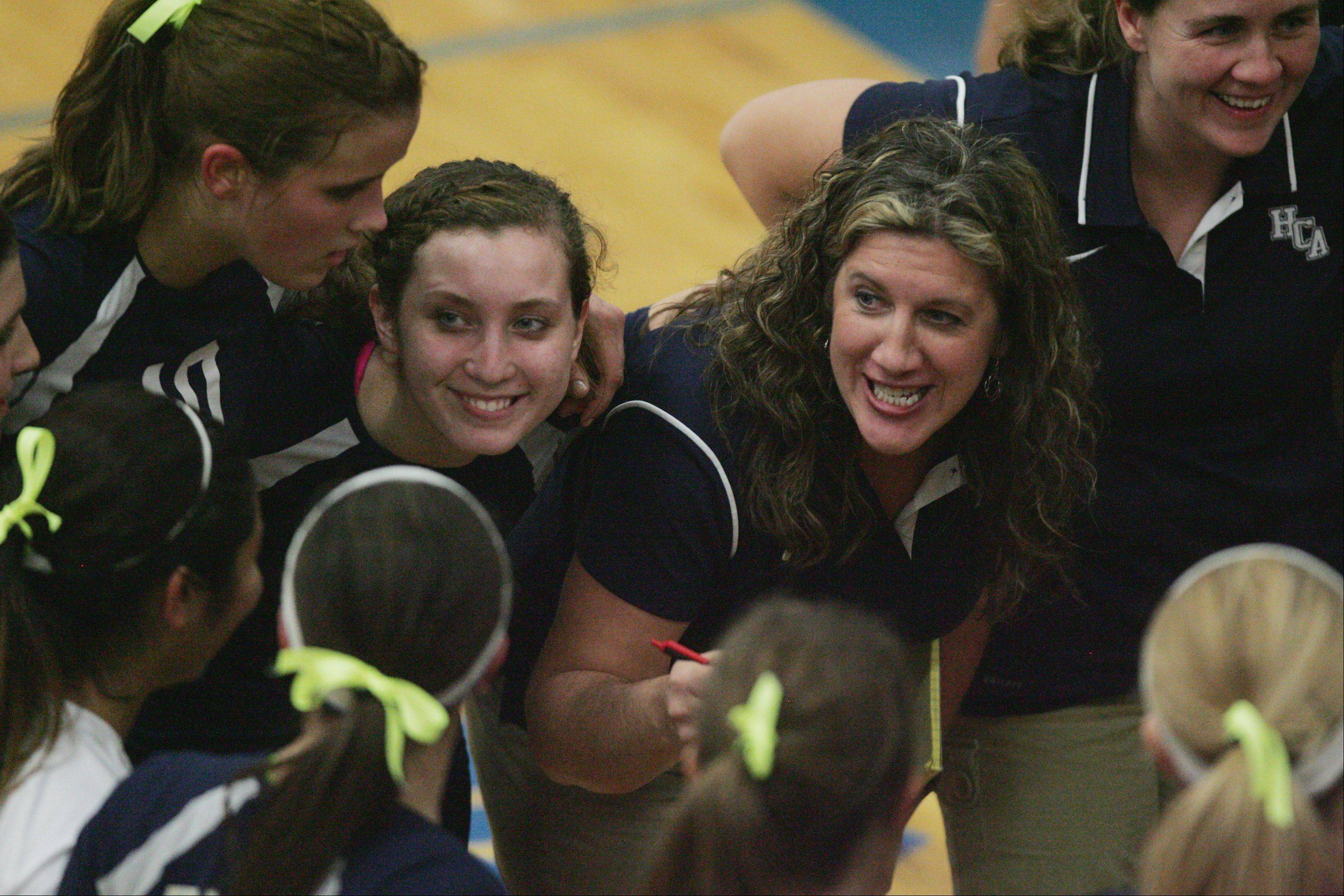 Westminster Christian head coach Kim Floyd rallies her troops during a timeout Thursday night in Elgin.