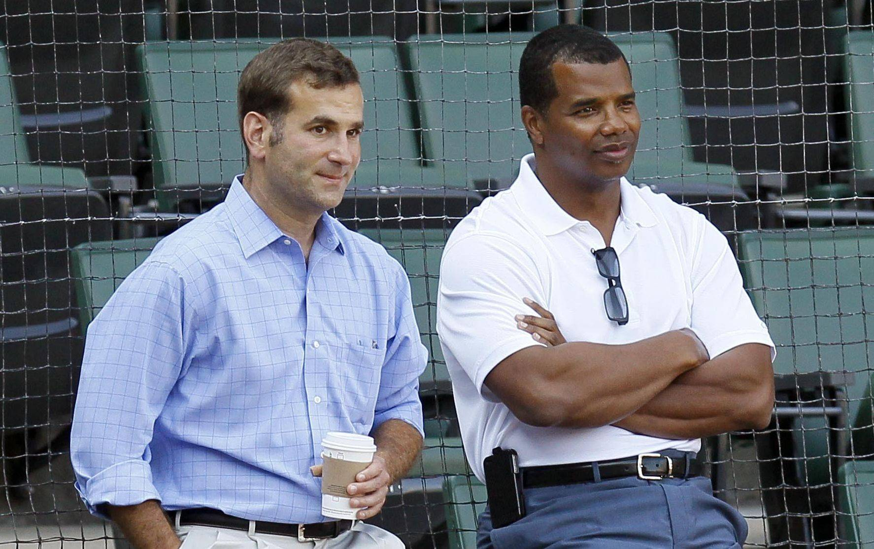The White Sox will promote Kenny Williams, right, to president of baseball operations and Rick Hahn, left, to GM today.