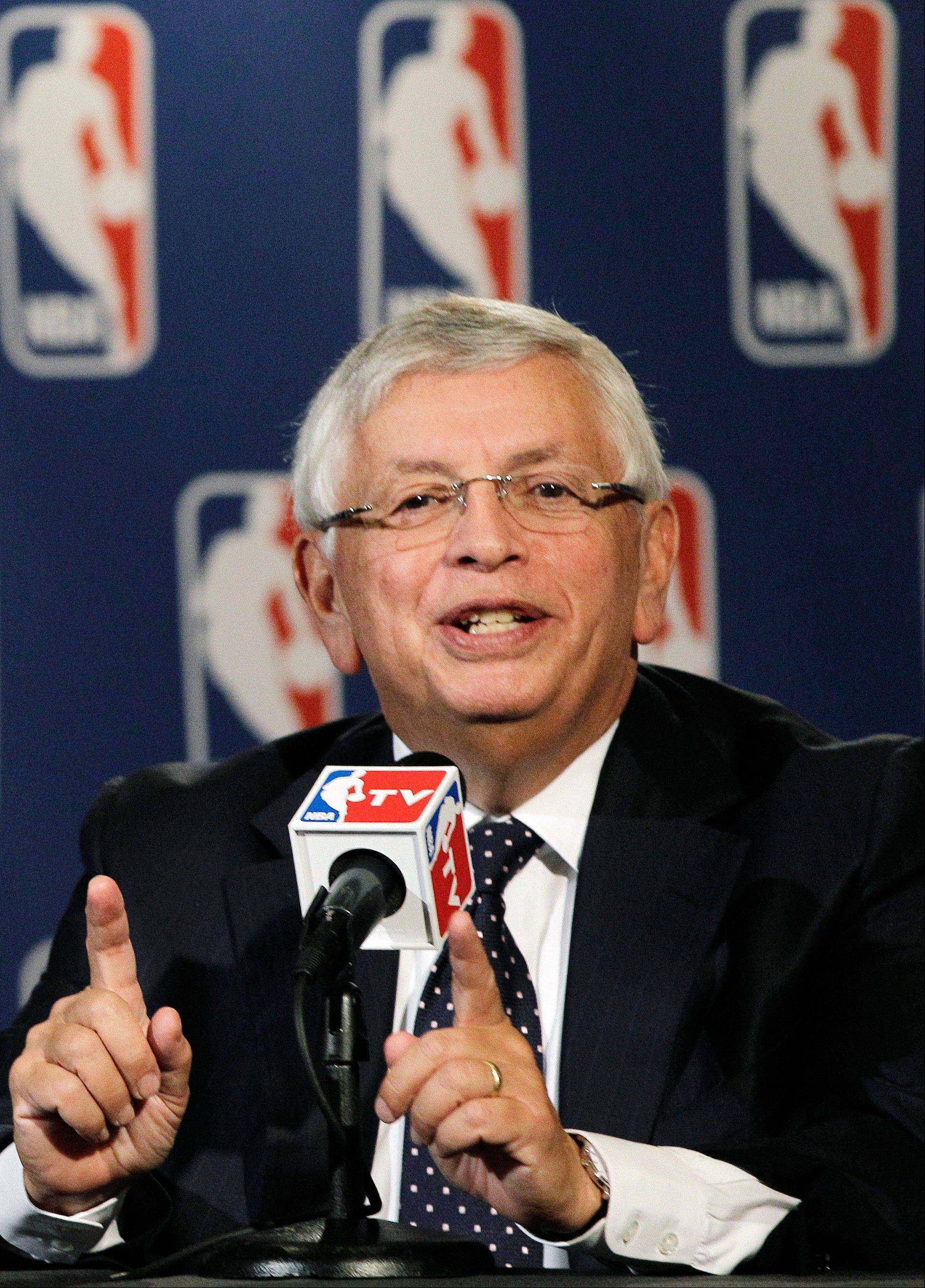 NBA Commissioner David Stern speaks during a basketball news conference following Board of Governors meetings in New York, Thursday, Oct. 25, 2012. Stern announced he will retire on Feb. 1, 2014, 30 years after he took charge of the league. He will be replaced by Deputy Commissioner