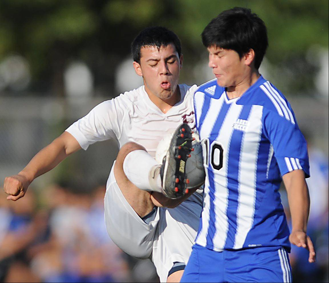Larkin's Erik Rodriguez, right, is the honorary captain of the Daily Herald's Fox Valley All-Area boys soccer team for the second year in a row.