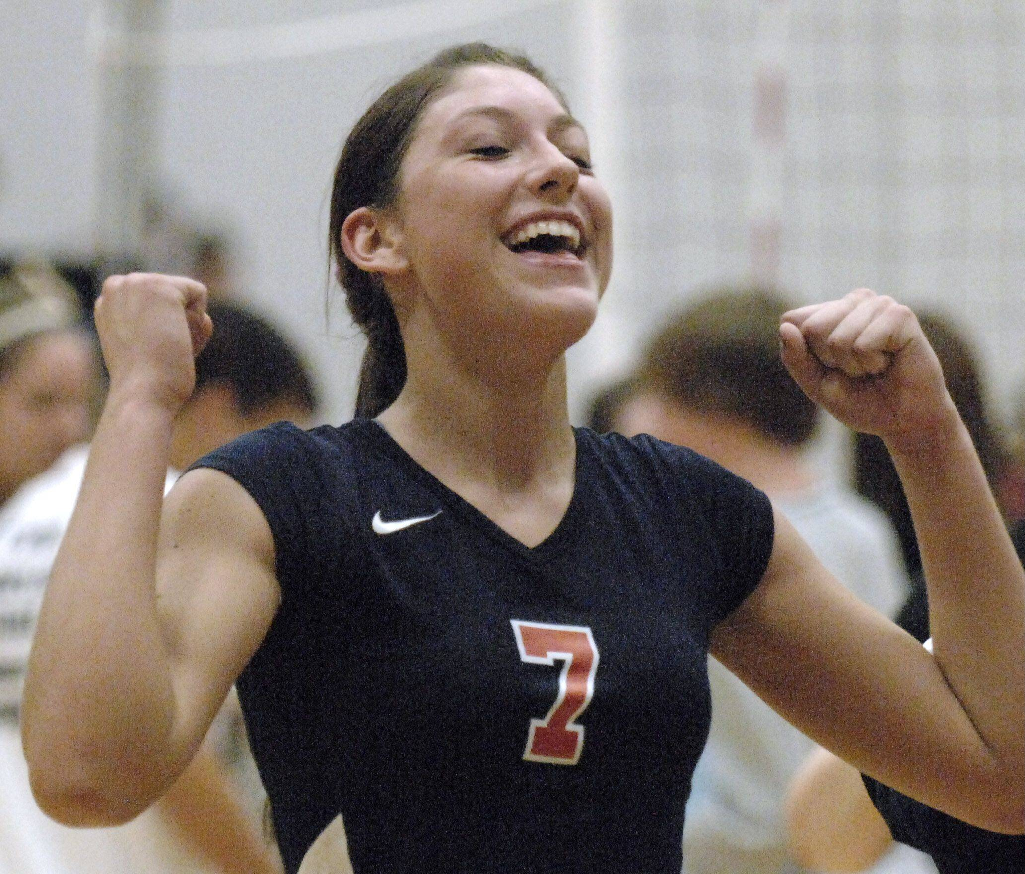 Lauren Carlini had a lot to celebrate the past four years at West Aurora, going from 14-20 as a freshman to leading her team to back-to-back conference championships.