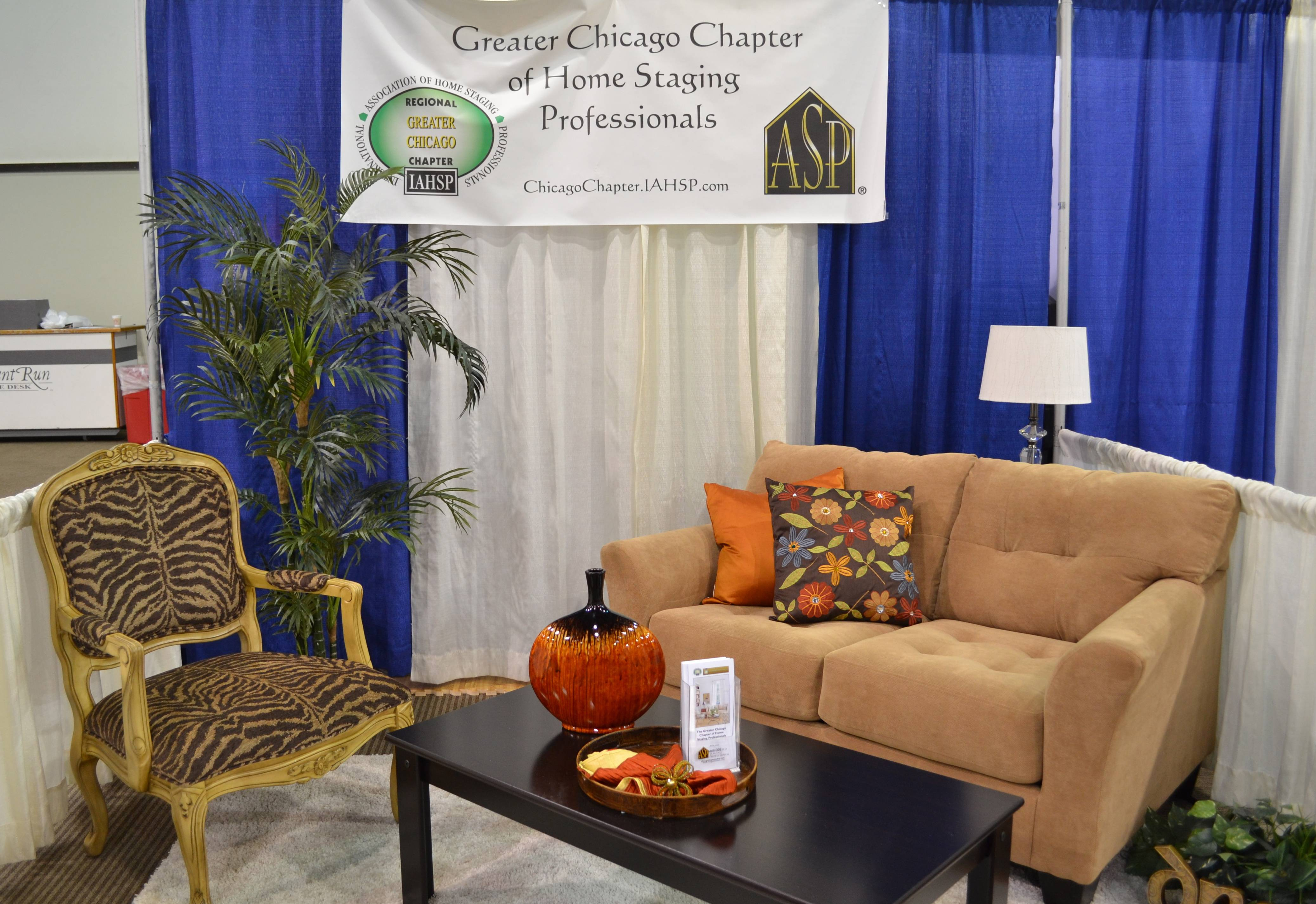 "Greater Chicago Chapter of Home Staging Professionals ""living room"" booth at the Illinois Association of Realtors Fall Conference & Expo, St. Charles, IL, October, 2012."