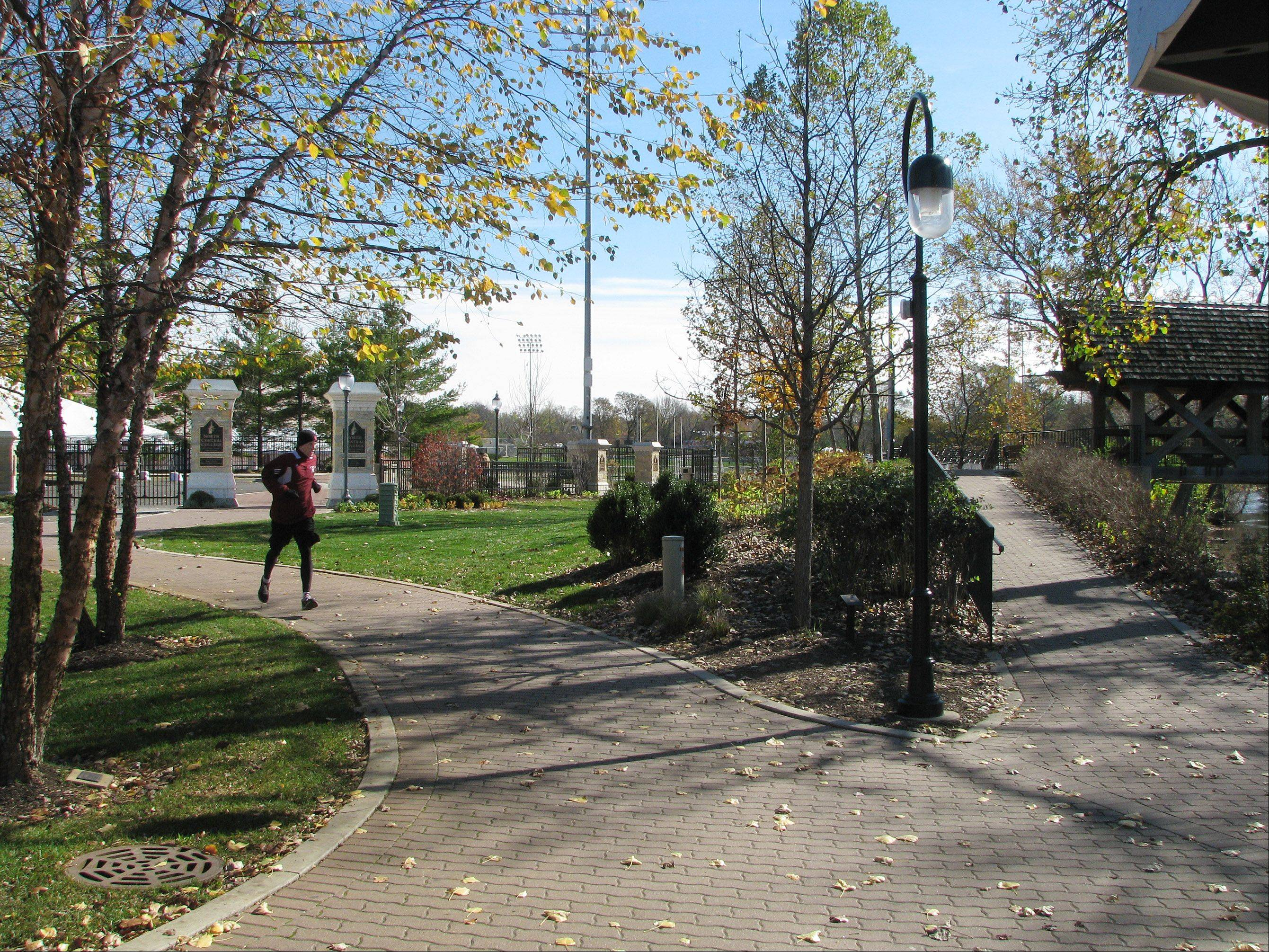 The renovated Riverwalk Gateway between Fredenhagen Park and North Central College�s athletic complex will be dedicated at 1 p.m.