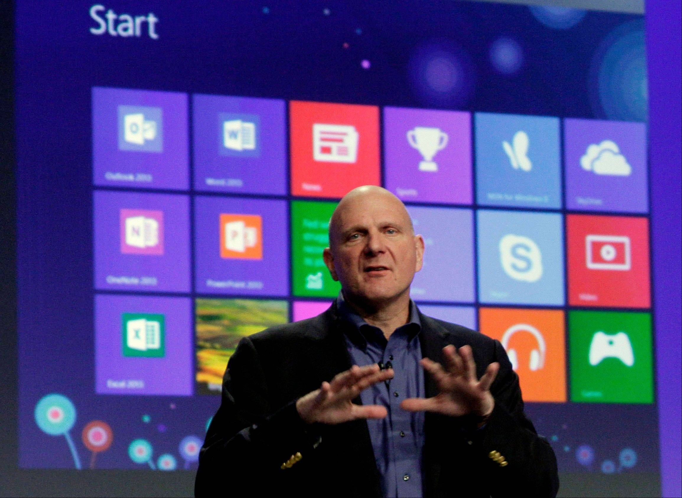 Microsoft CEO Steve Ballmer gives his presentation at the launch of Microsoft Windows 8, in New York, Thursday, Oct. 25, 2012. Windows 8 is the most dramatic overhaul of the personal computer market's dominant operating system in 17 years.