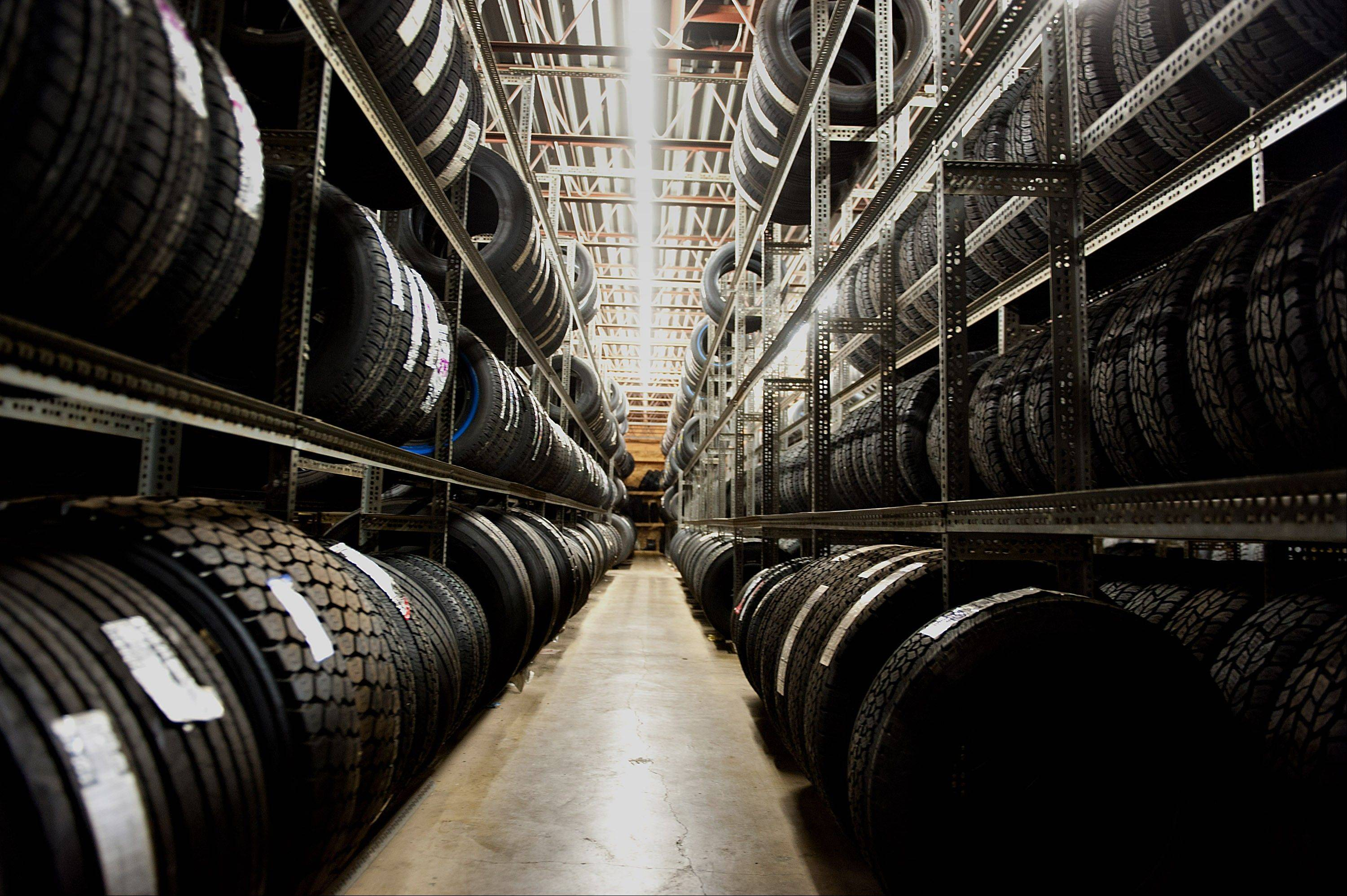 Goodyear Tire & Rubber Co. vehicle tires sit in a storage room at Keister's Tire Center in Kewanee, Illinois.