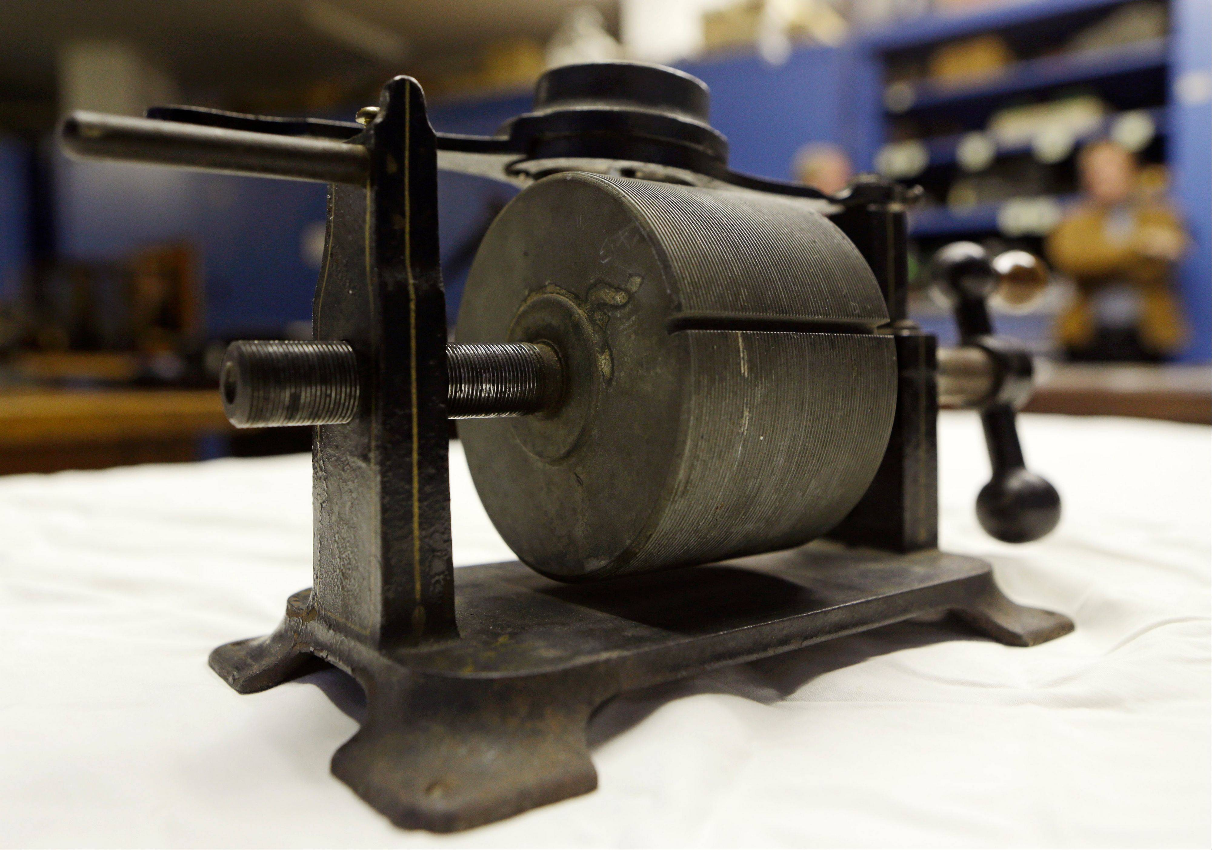An 1879 tinfoil phonograph at the Museum of Innovation and Science, on Wednesday, Oct. 24, 2012, in Schenectady, N.Y. Researchers have digitized what experts say is the oldest reco.