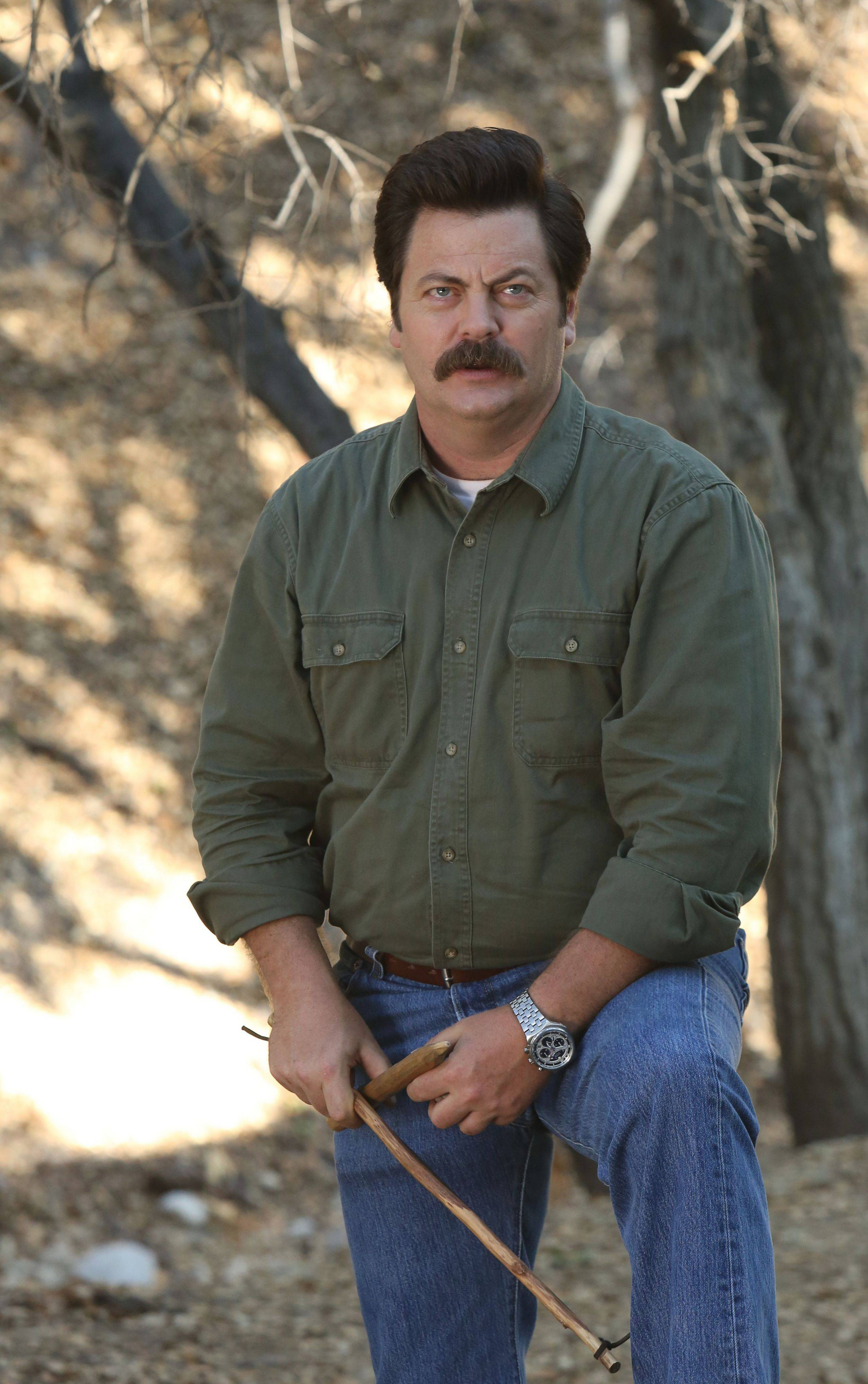 "Nick Offerman, a veteran of the Chicago theater scene, juggles independent films with his role as Ron Swanson on NBC's ""Parks and Recreation."""