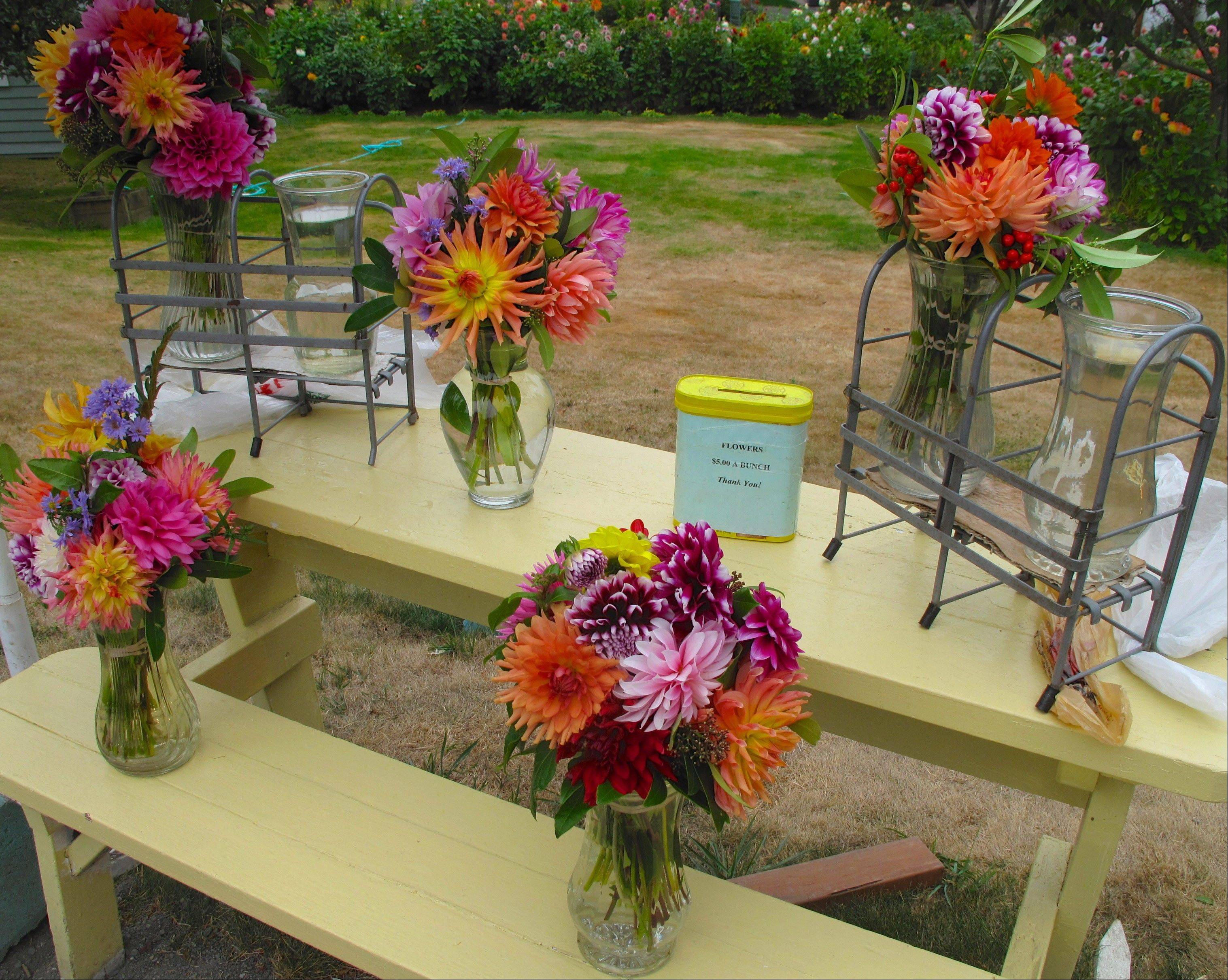 These dew-fresh bouquets are priced at $5 each and will last when placed in water as long as a week.