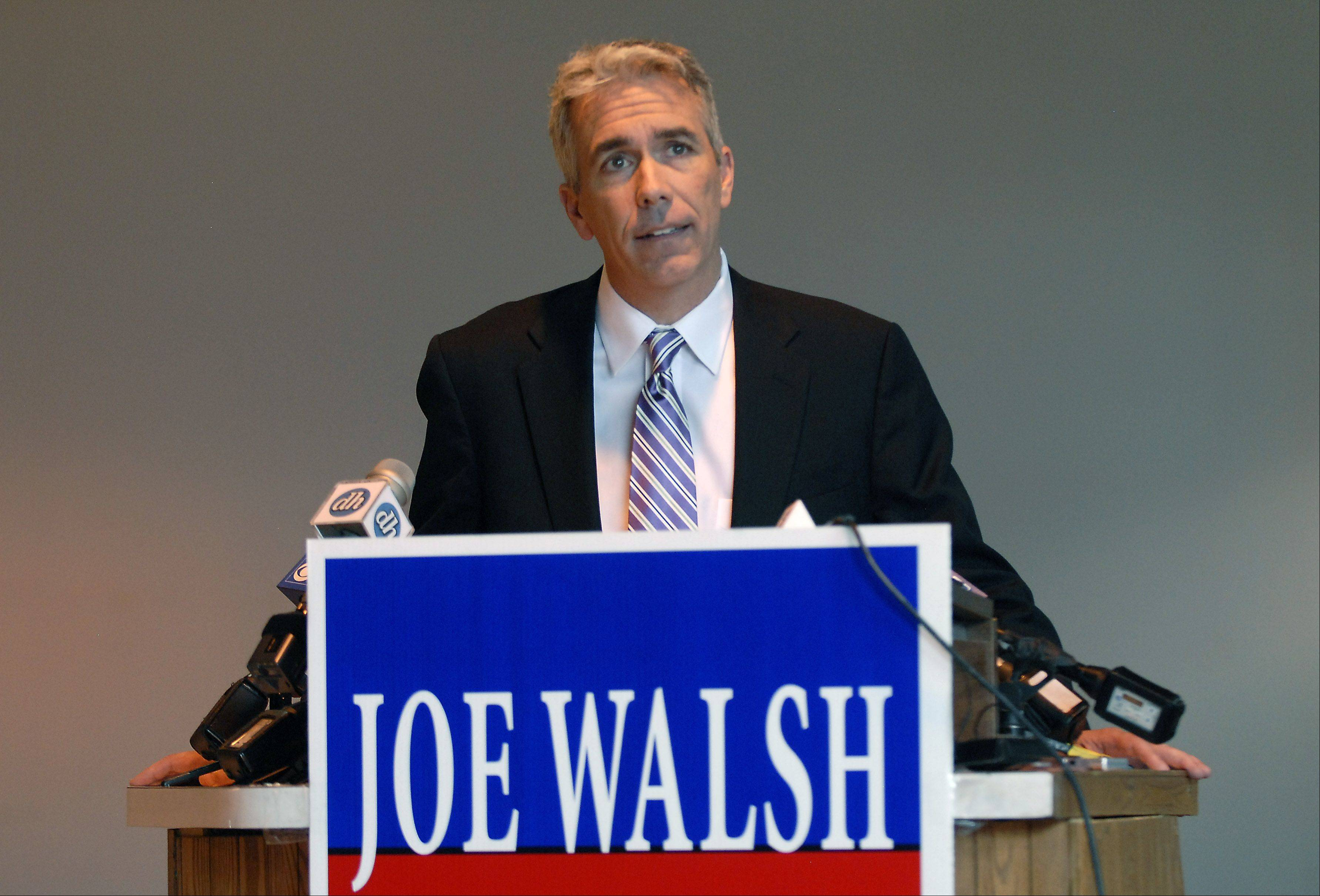 Congressman Joe Walsh reaffirms his pro-life stance without exception during a news conference at a warehouse in Elk Grove Village last Friday afternoon.