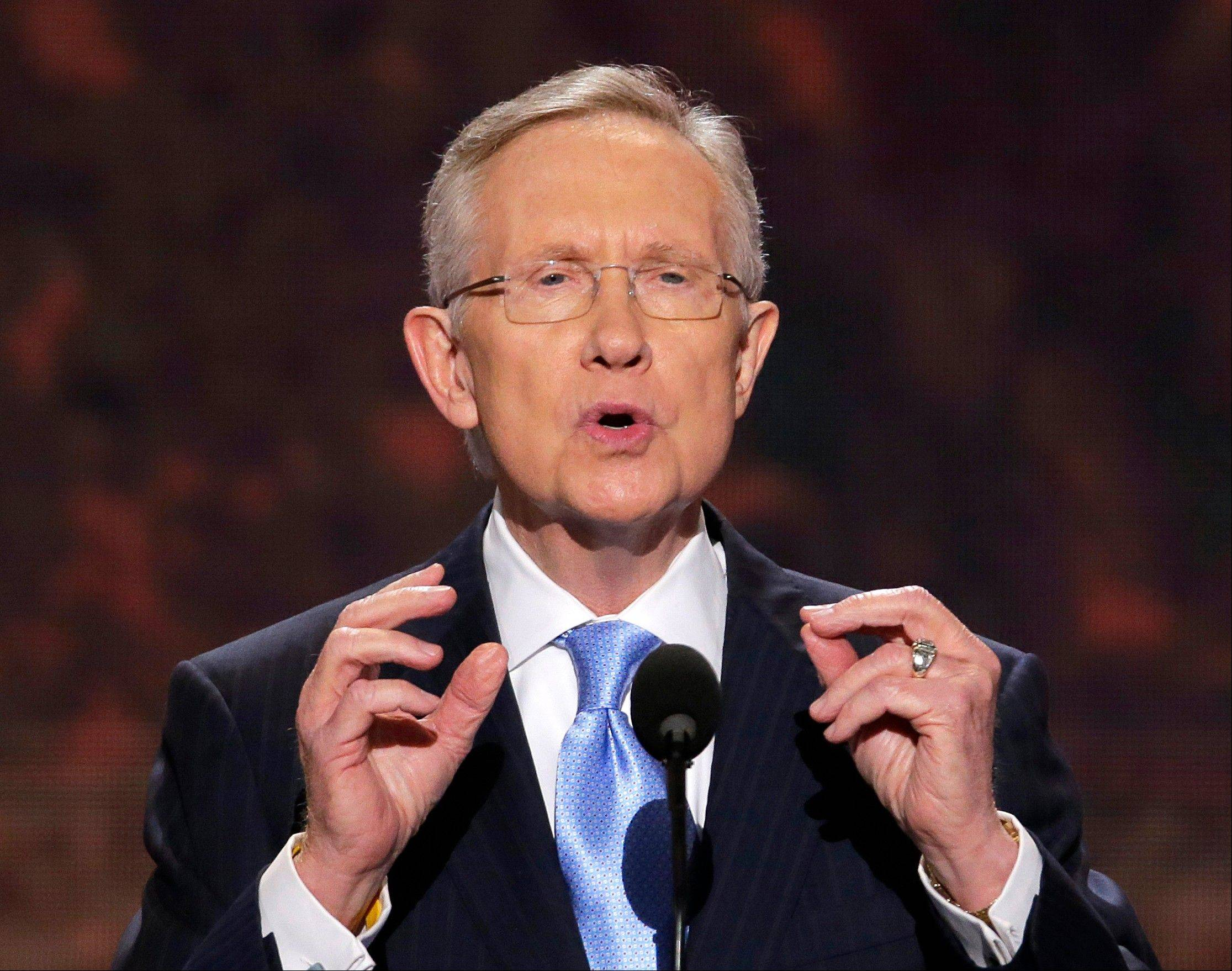 Associated Press/Sept. 4, 2012 Senate Majority Leader Harry Reid of Nevada addresses the Democratic National Convention in Charlotte, N.C. Troopers say Reid has been taken to the hospital after what appears to be a rear-end crash on an interstate through Las Vegas.