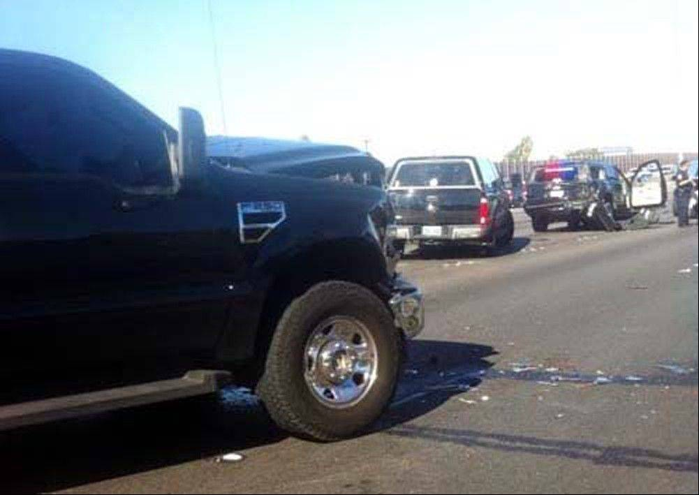 Associated PressThis cell phone image from the scene shows damage to a vehicle in the motorcade that was transporting Democratic U.S. Sen. Harry Reid on Interstate 15 near Sahara Avenue in Las Vegas on Friday.