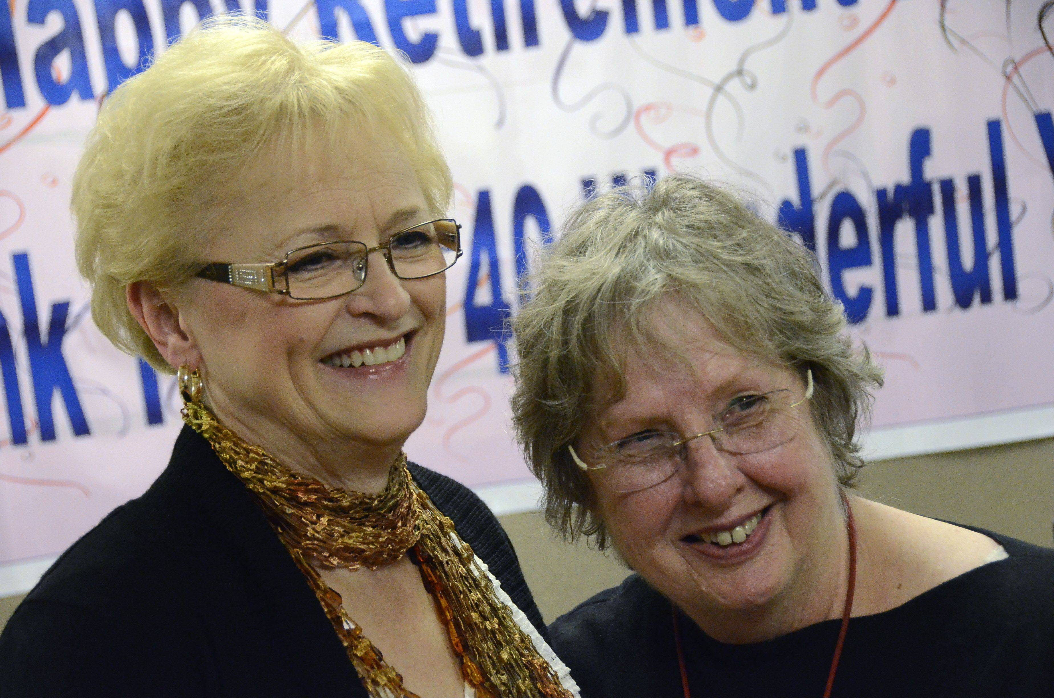 Ann Skwarek, left, of Prospect Heights is retiring after working as a nurse in the neonatal intensive care unit at Advocate Lutheran General Hospital for 40 years. Wishing her well is another 40-year veteran, Cora Reidl of Chicago.