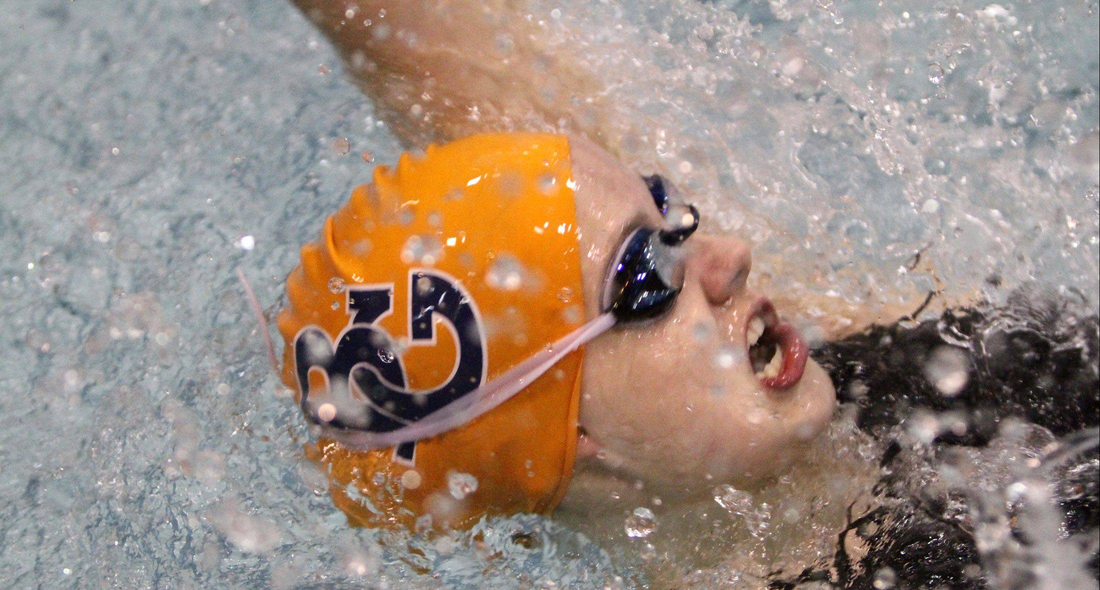 Buffalo Grove senior Veronika Jedryka competes in her final Mid-Suburban League meet today at Barrington. She's seeded second in the 100-yard freestyle and third in the 50 free; the meet begins at 11 a.m.
