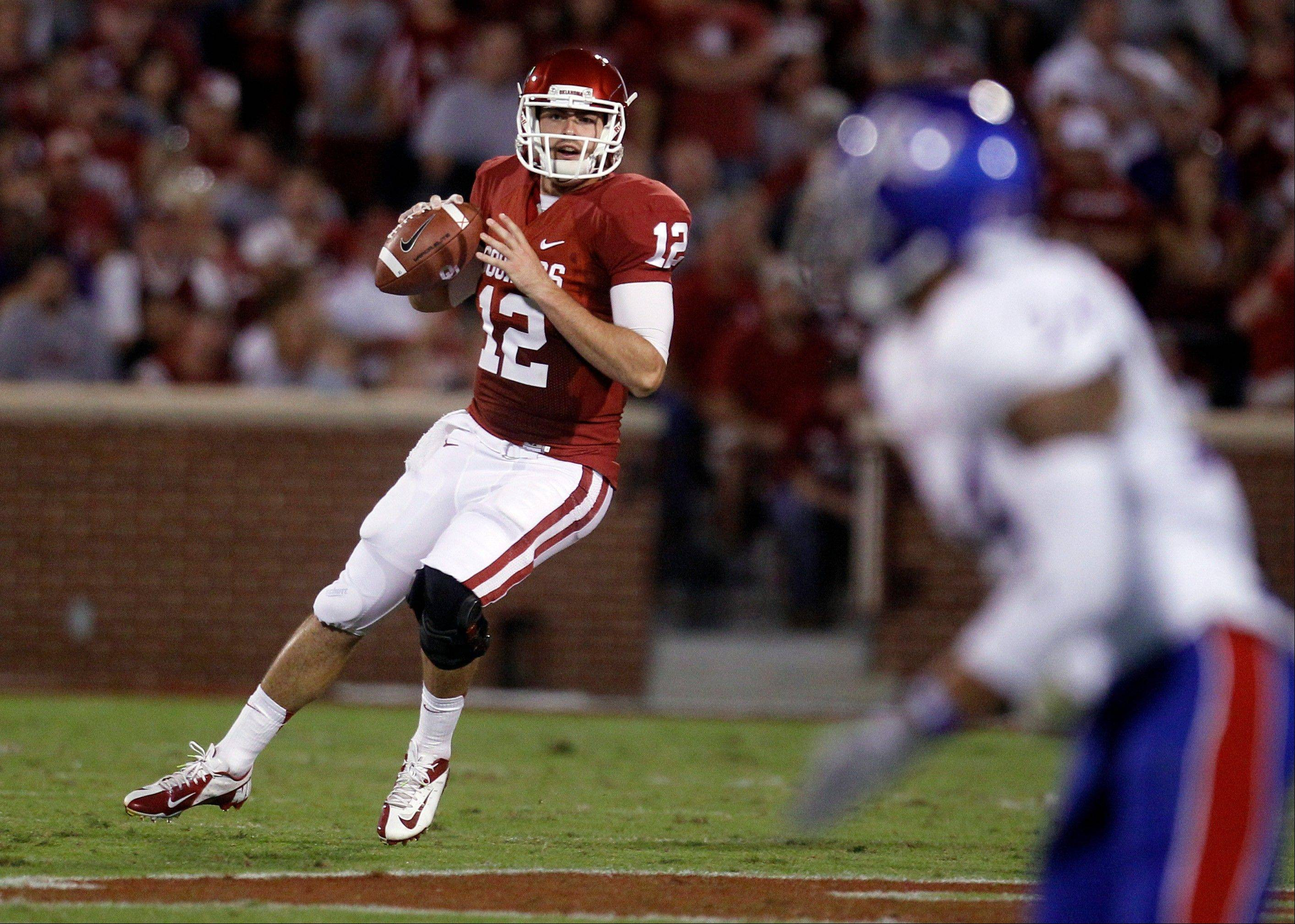 Oklahoma quarterback Landry Jones gets ready to pass against Kansas during the second quarter of last Saturday's game in Norman, Okla. The Sooners won 52-7.
