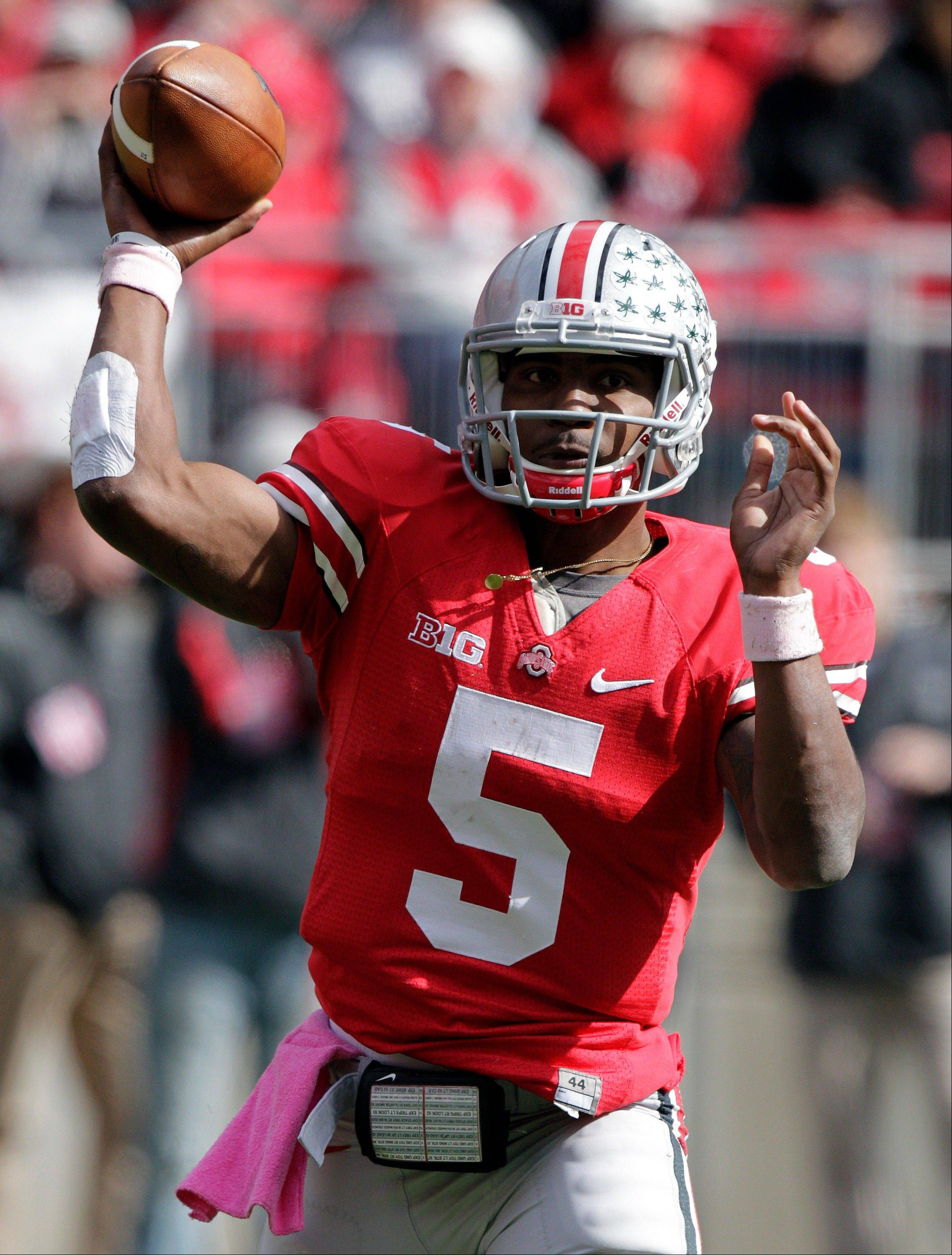 Ohio State quarterback Braxton Miller appeared to be seriously hurt in last week's 29-22 overtime win against Purdue but returned to practice this week and seems to be fine