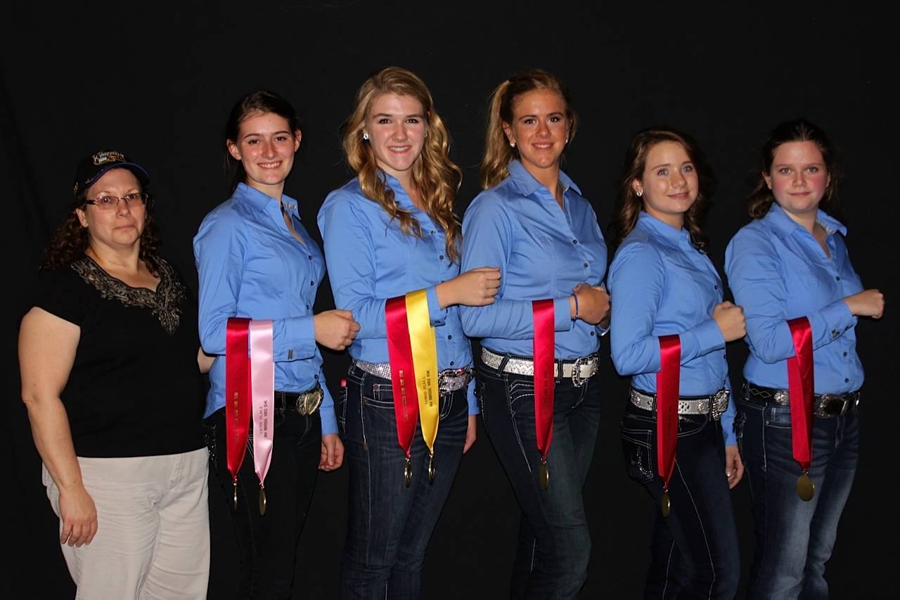 Pictured is Horse Bowl Coach Debbie Woznicki, Kayleigh Pivonka,  Molly McGhee, Annalise Kass, Erica Engel, and Sarah Elhers.