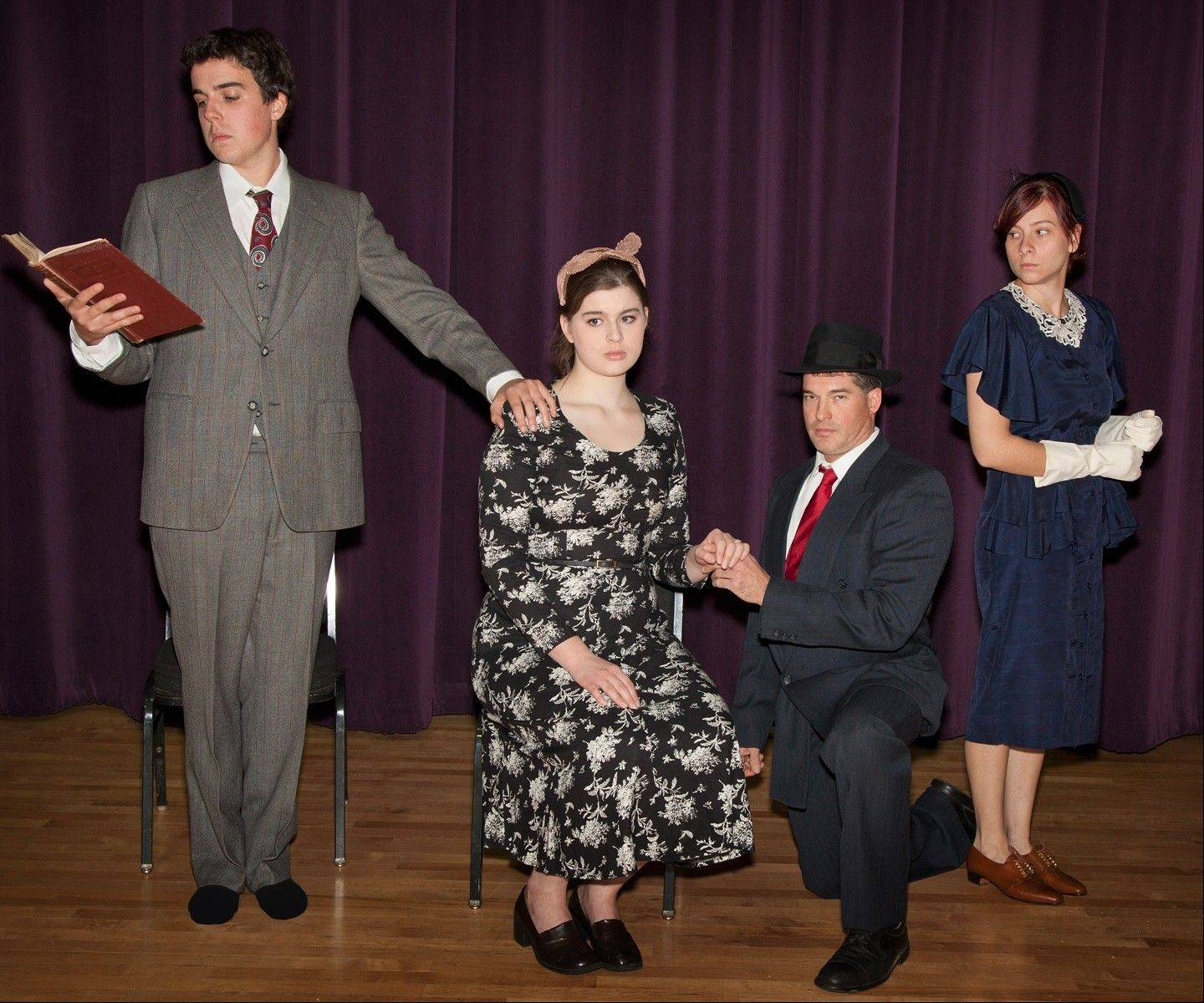 "Elliot Simmons, left, Katrina Syrris, Steve Michalak and Jacque Currie, who portray characters in Elgin Community College Theatre's production of ""Machinal."""