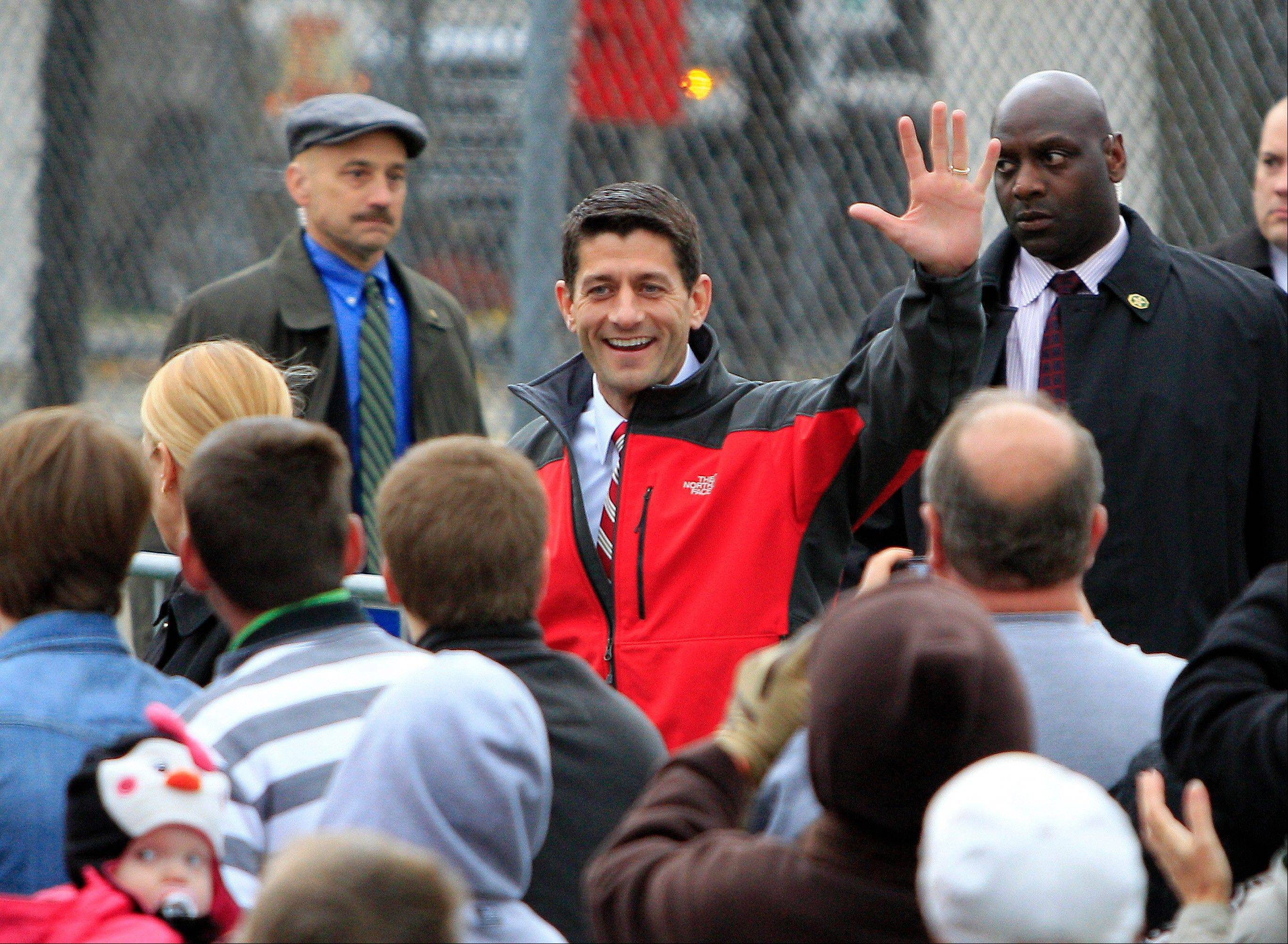Republican vice presidential candidate, Wisconsin Rep. Paul Ryan, greets supporters before speaking at a campaign stop at Young's Dairy Saturday in Yellow Springs, Ohio.