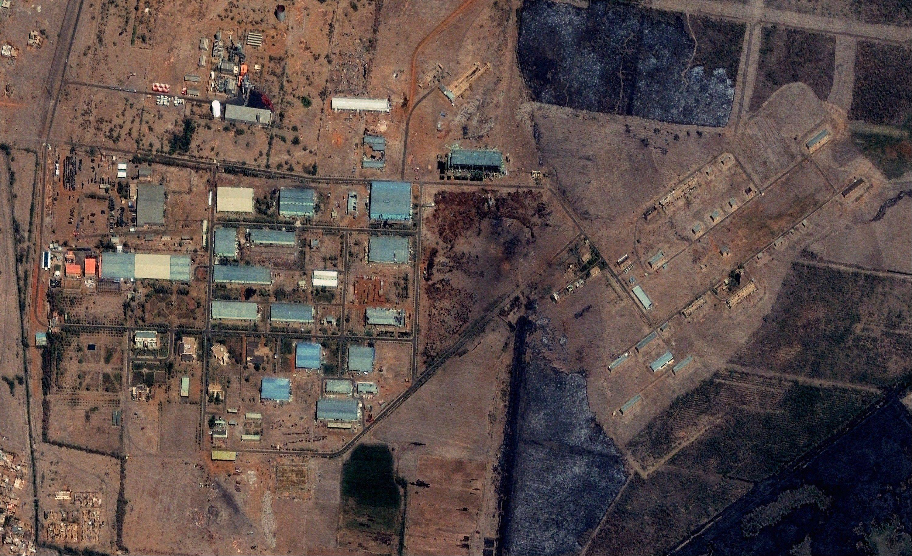 The Yarmouk military complex in Khartoum, Sudan seen in a satellite image made on October 12 2012, prior to the alleged attack. A U.S. monitoring group says satellite images of the aftermath of an explosion at a Sudanese weapons factory suggest the site was hit by an airstrike.