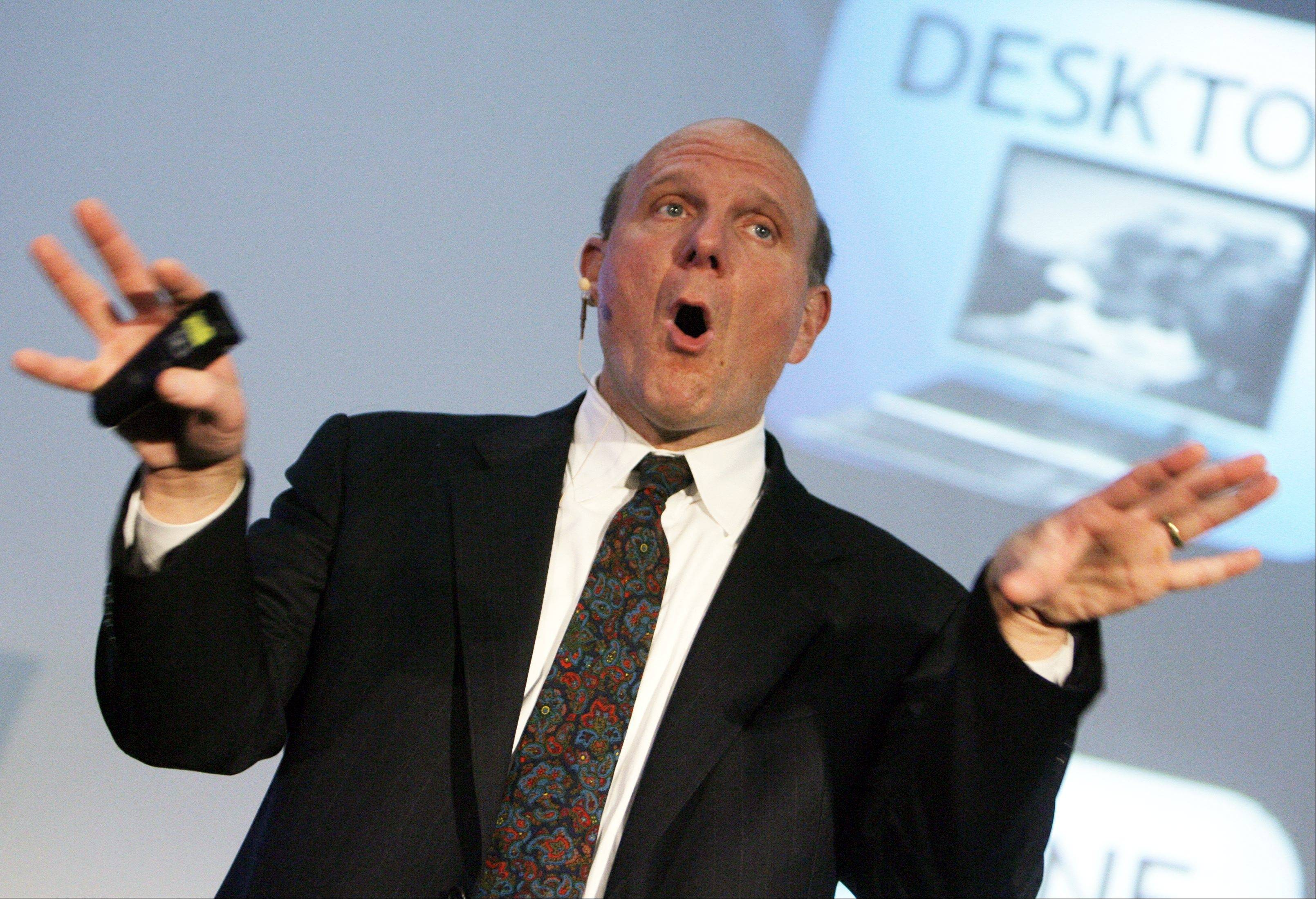 "Steve Ballmer, CEO Microsoft, speaks about the ""Next Generation Internet"" during a presentation earlier this month in Zurich, Switzerland. Ballmer can't afford to be wrong about Windows 8. If the dramatic overhaul of the Windows operating system flops, it will reinforce perceptions that Microsoft is falling behind other technology giants as the world moves on to smartphones, tablets and other sleek devices from Apple, Google and Amazon."
