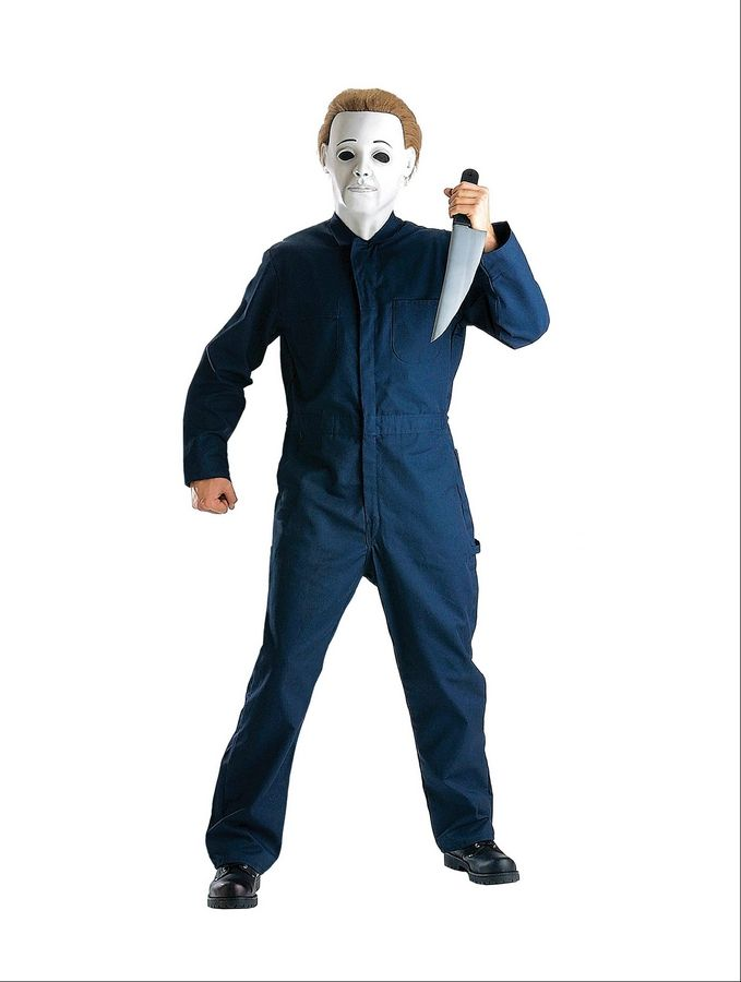 "A Michael Myers costume from the ""Halloween"" film franchise is available in kid-sized versions at Party City."
