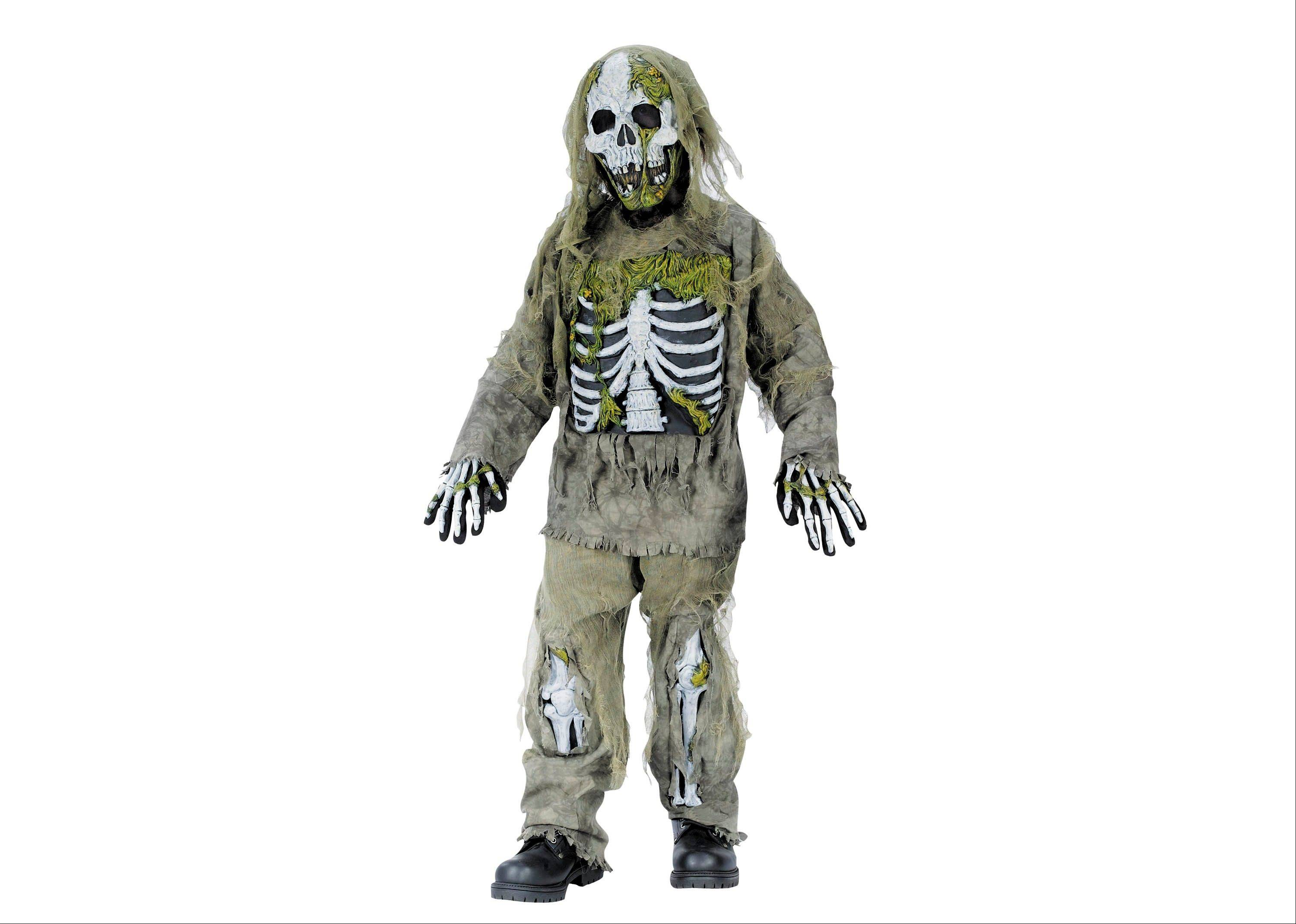 Halloween costumes for young children are getting more grisly this year. A boy's skeleton zombie costume is just one option.