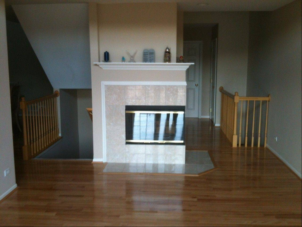 The fireplace, before the makeover.