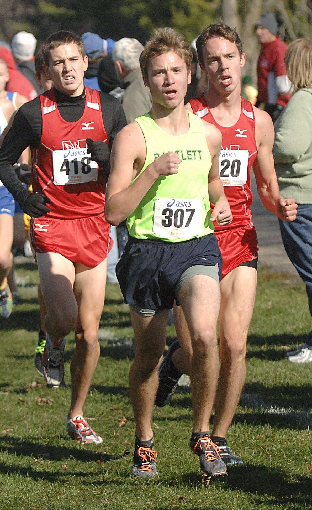 Bartlett's Anthony Peters near the mile and half mark in the St. Charles East cross country sectional at LeRoy Oakes in St. Charles on Saturday, October 27.