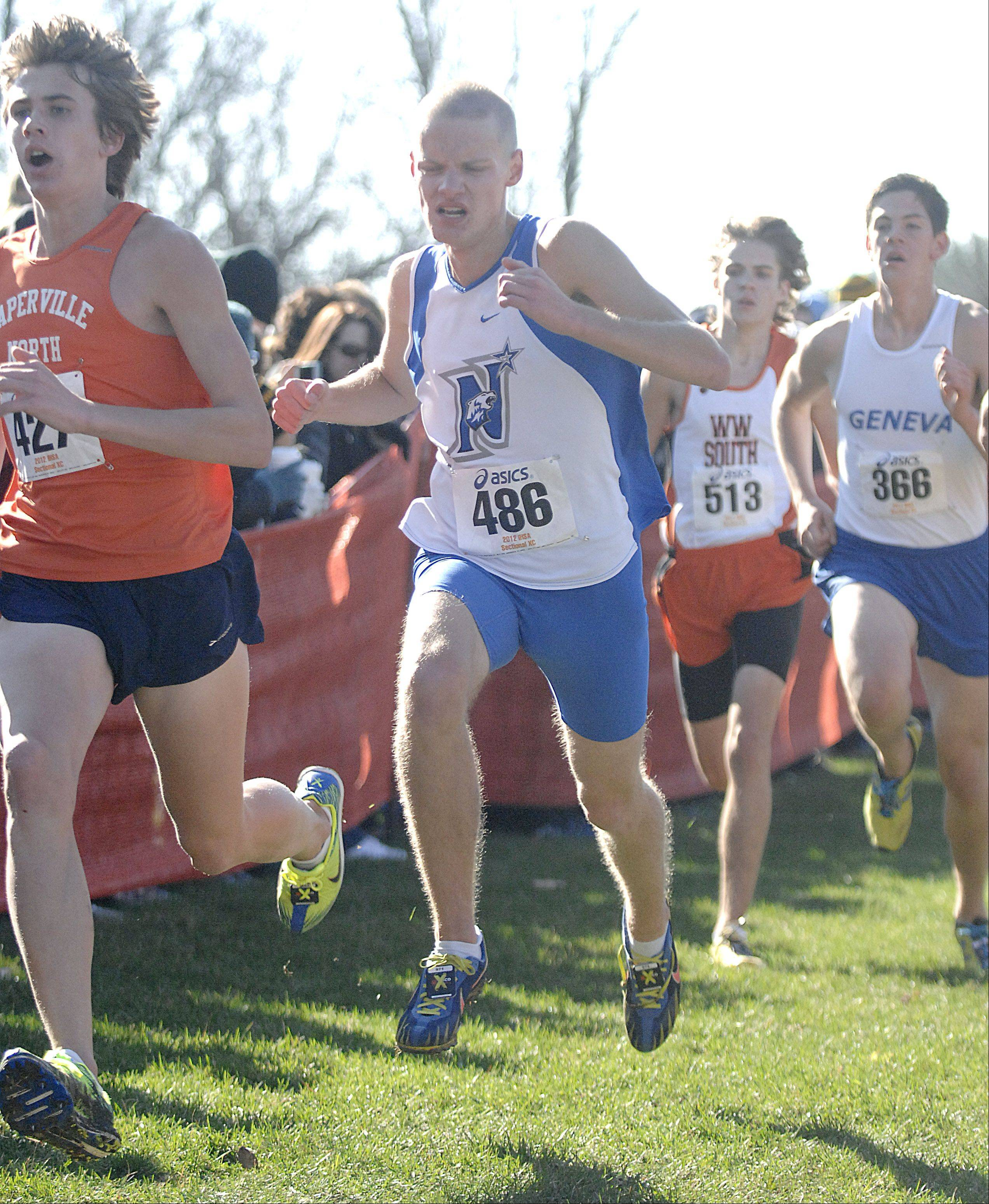 St. Charles North's Nick Vorger nears the finish line in the St. Charles East cross country sectional at LeRoy Oakes in St. Charles on Saturday, October 27.