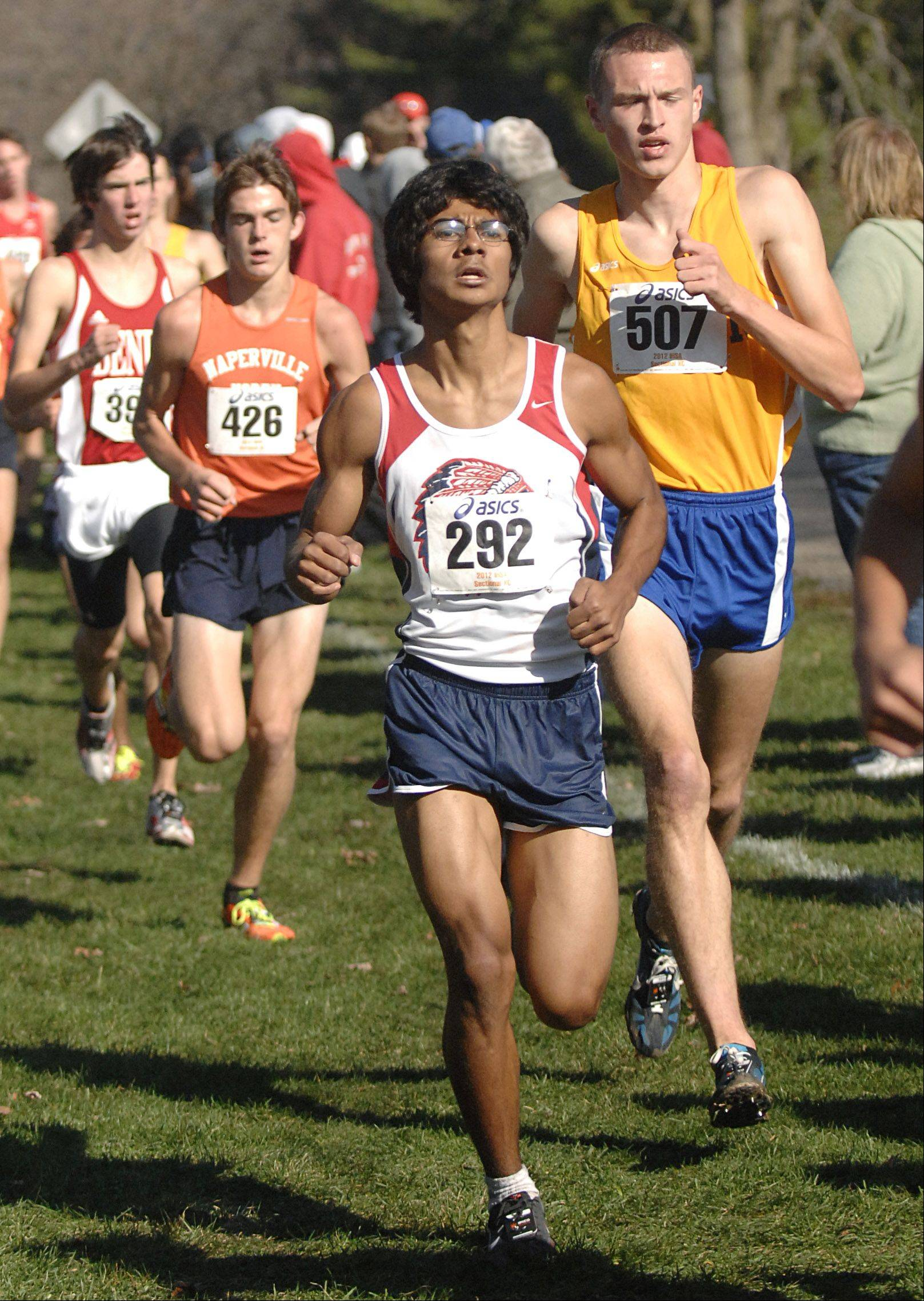 West Aurora's Robbie Herrera near the mile and half mark in the St. Charles East cross country sectional at LeRoy Oakes in St. Charles on Saturday, October 27.