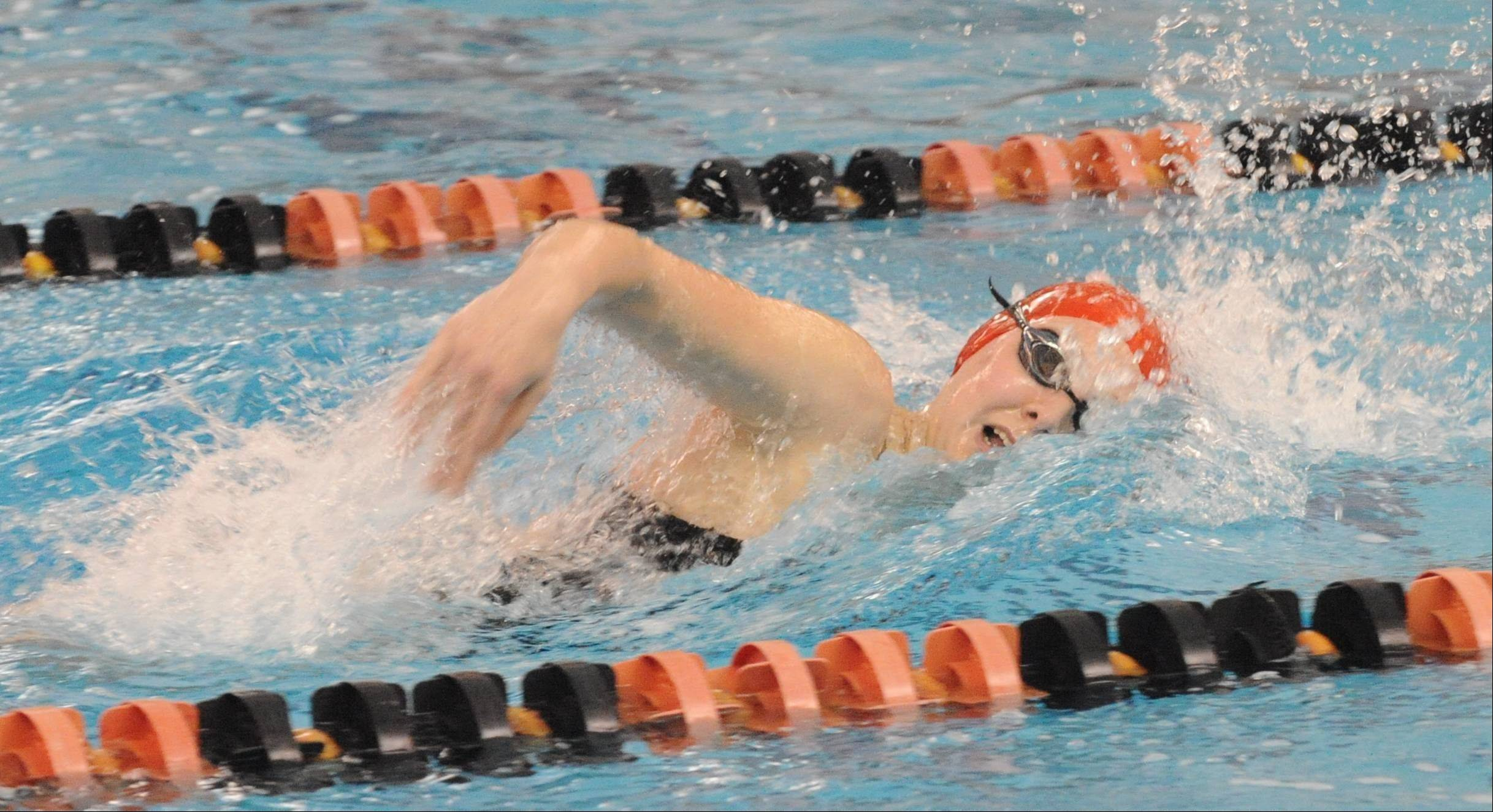 Barrington freshman Kristen Jacobsen provides a winning finish in the 200-yard freestyle in Saturday's Mid-Suburban League meet at Barrington.