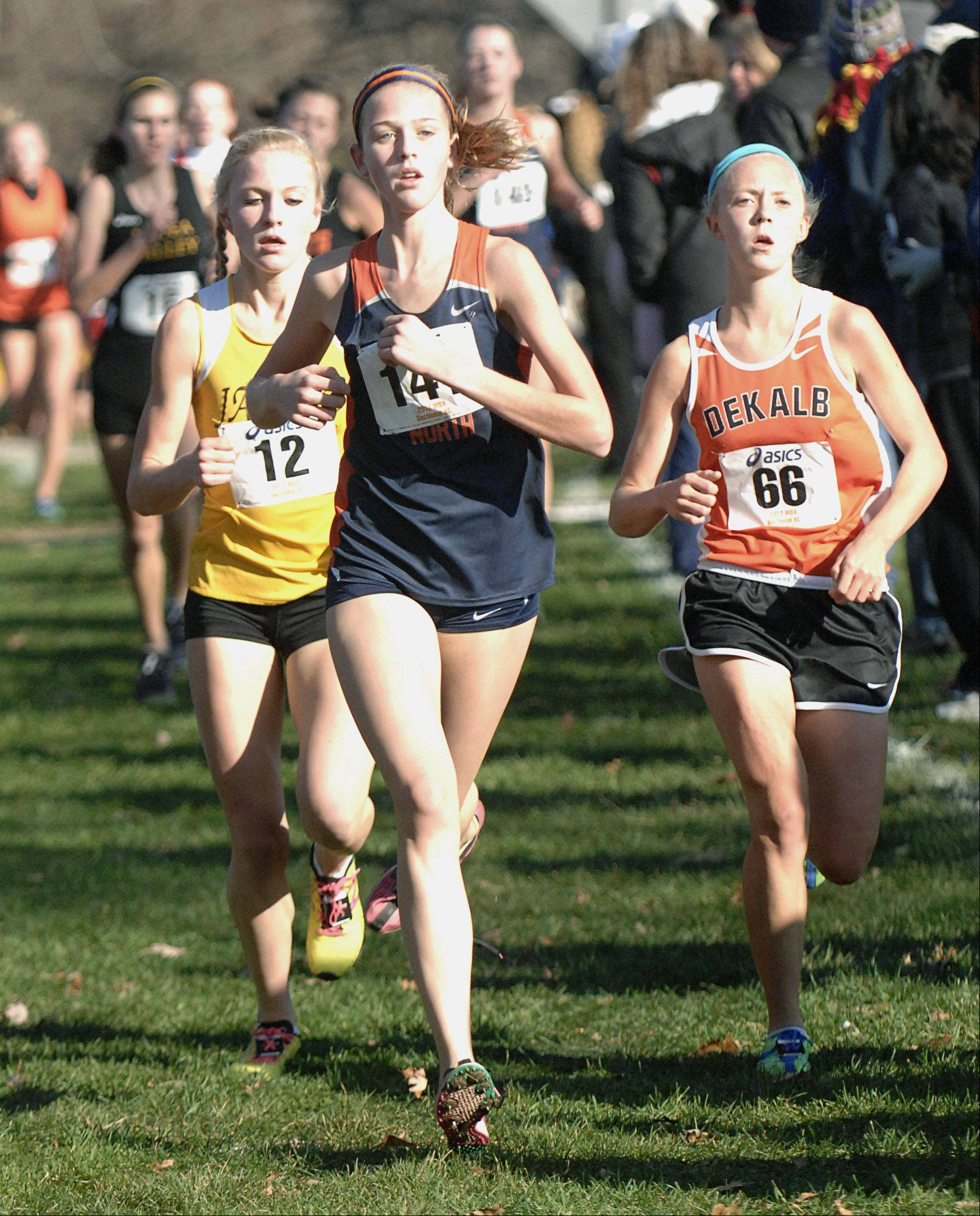 Naperville North's Elly DeTurris leads the pack near the one and a half mile mark in the St. Charles East cross country sectional at LeRoy Oakes in St. Charles on Saturday, October 27.
