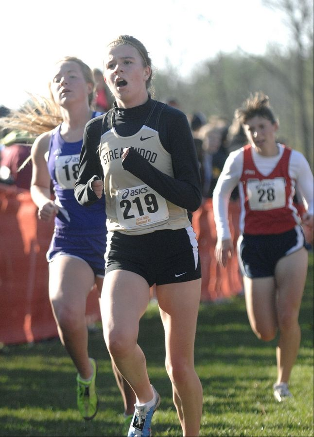 Streamwood's Adelaide Kelly nears the finish line in the St. Charles East cross country sectional at LeRoy Oakes in St. Charles on Saturday, October 27.