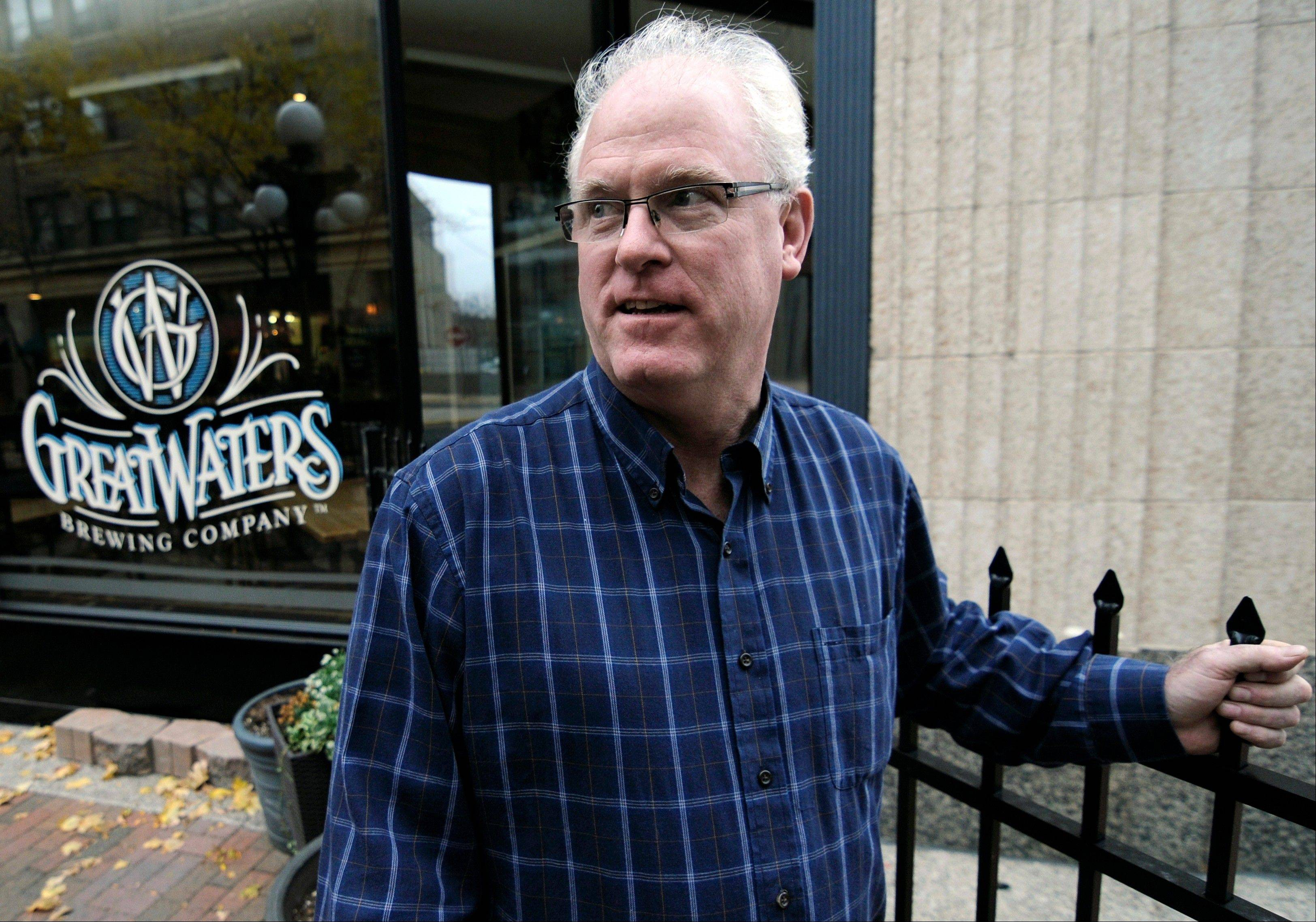 Great Waters Brewing Co. owner Sean O�Byrne is shown outside his brewpub located near the Xcel Center, home of the Minnesota Wild NHL hockey team. O�Byrne�s business is down 20 percent since the start of the NHL lockout and that�s a painful reminder of the 2004-05 lockout that wiped out the entire NHL season.