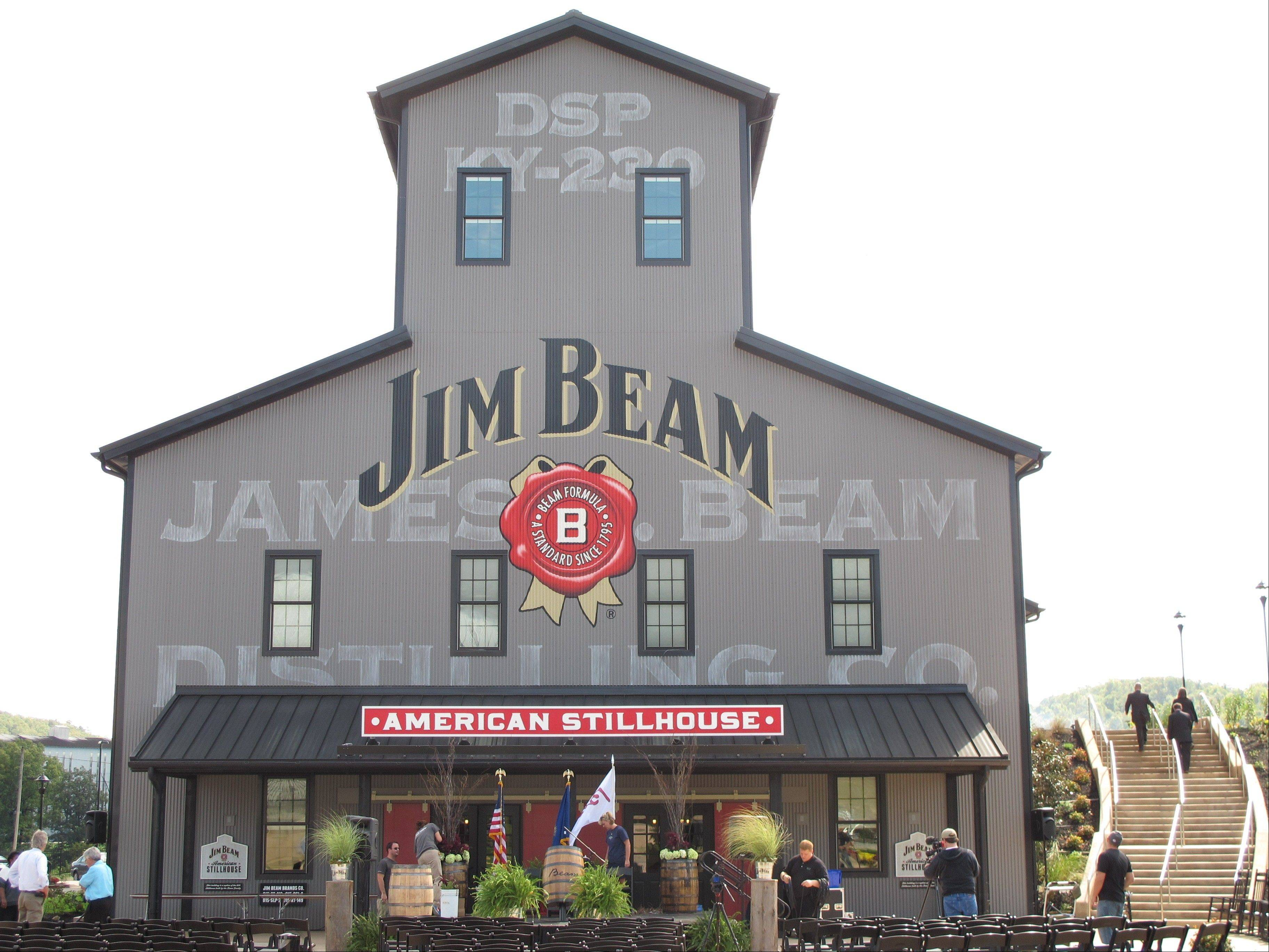 The Jim Beam visitors center at its central distillery in Clermont, Ky. The $20 million center, called the Jim Beam American Stillhouse, is a replica of a 1930s stillhouse and is three times the size of the distillery�s old tourist center.