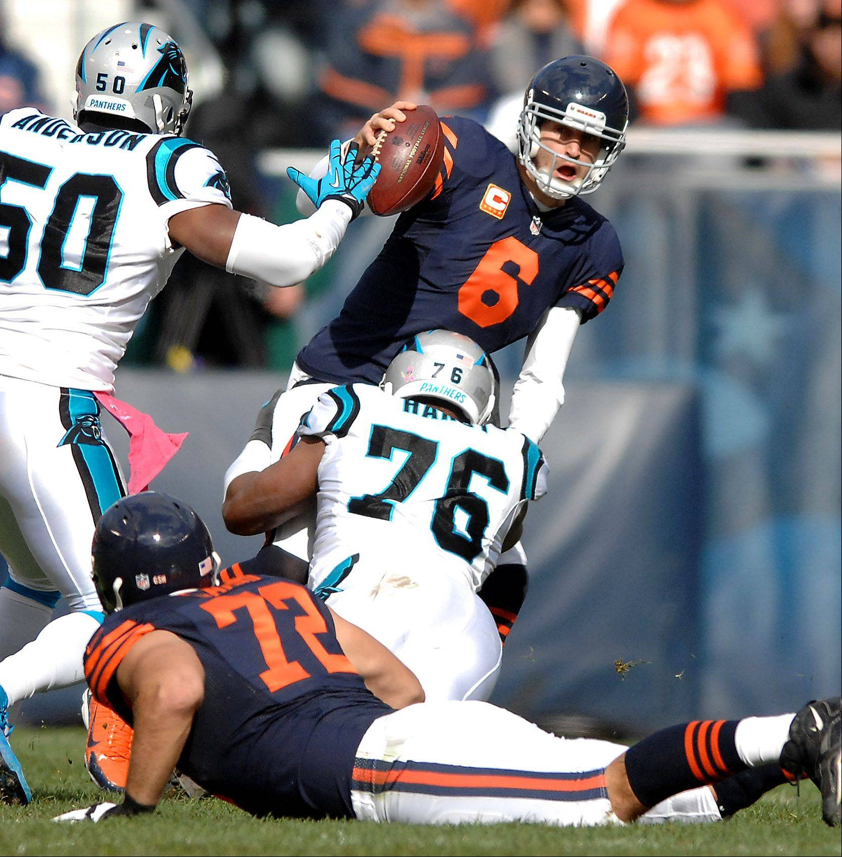 Chicago Bears quarterback Jay Cutler (6) is sacked by Carolina Panthers defensive end Greg Hardy (76) during Sunday�s game at Soldier Field in Chicago.