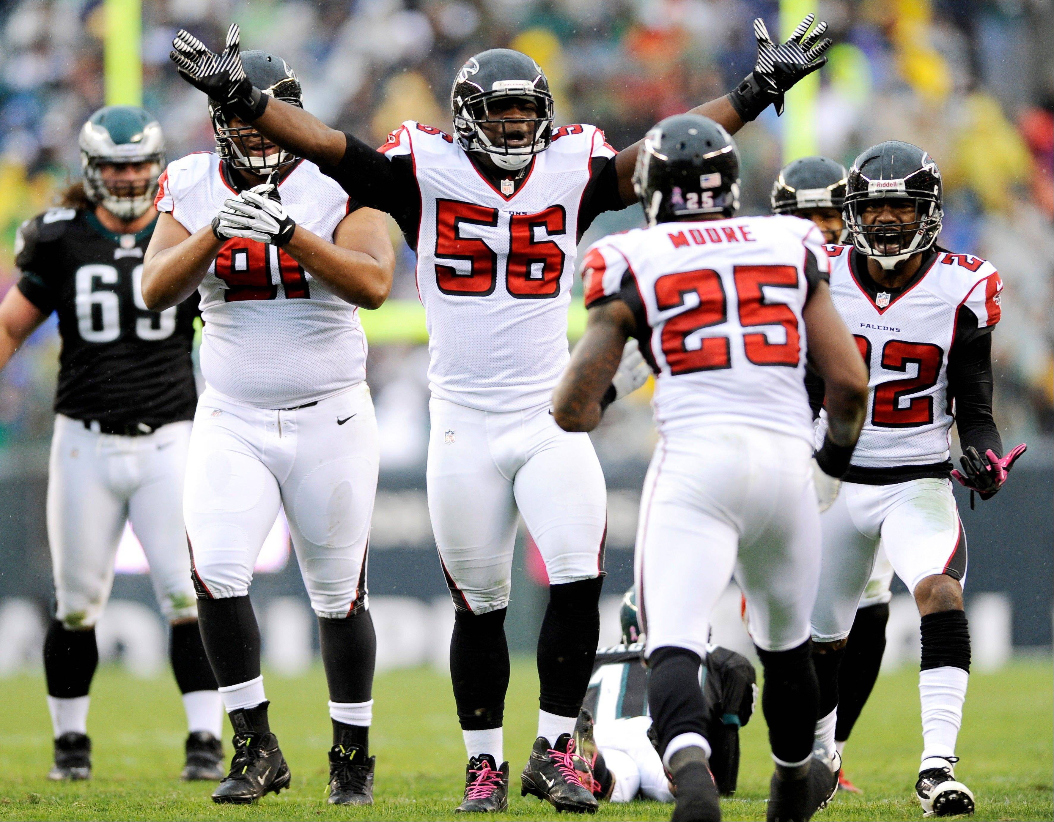 Atlanta Falcons outside linebacker Sean Weatherspoon (56) reacts during the second half of an NFL football game against the Philadelphia Eagles in Philadelphia.
