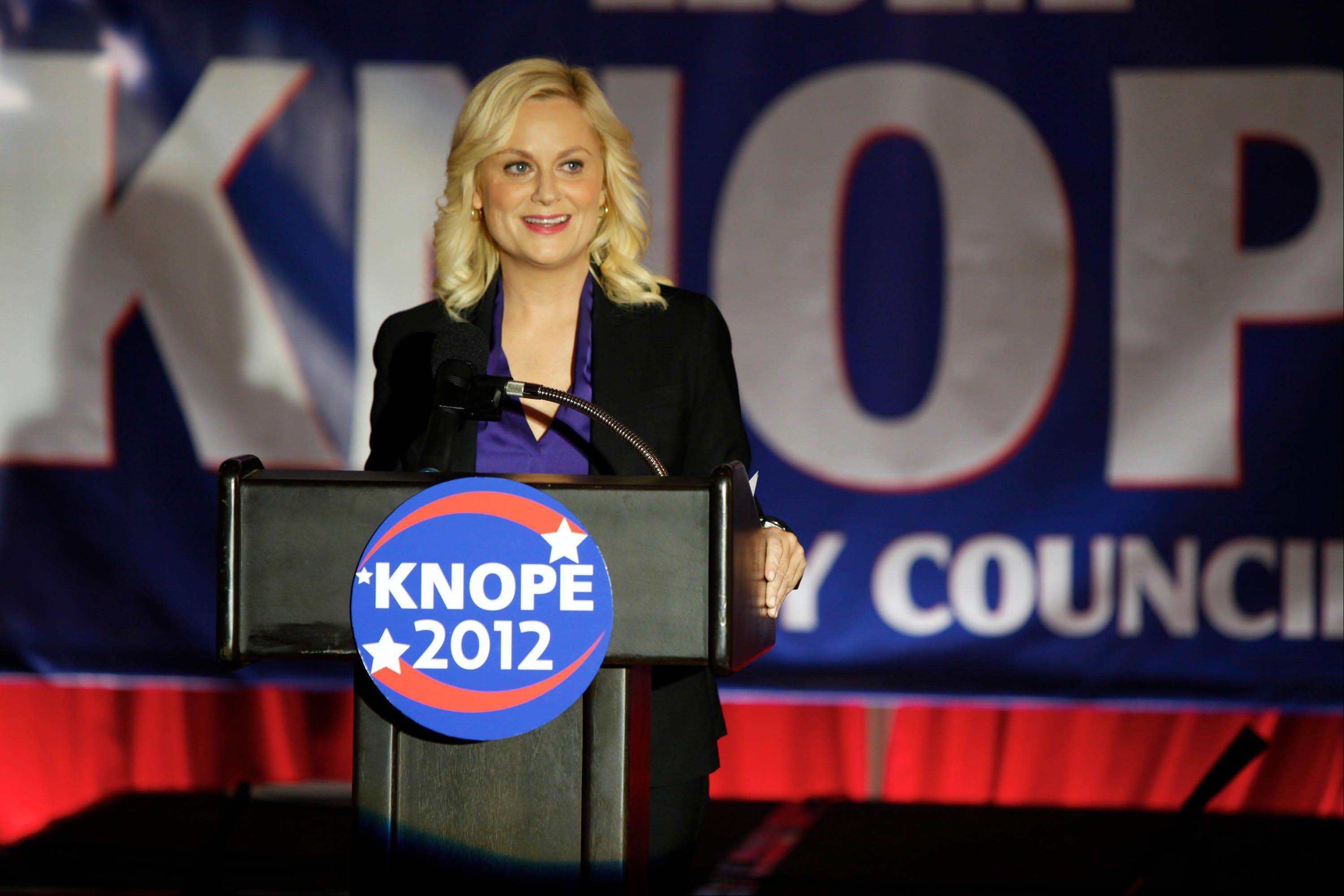 "Leslie Knope (Amy Poehler) has won a seat on the Pawnee City Council on the NBC comedy ""Parks and Recreation."""