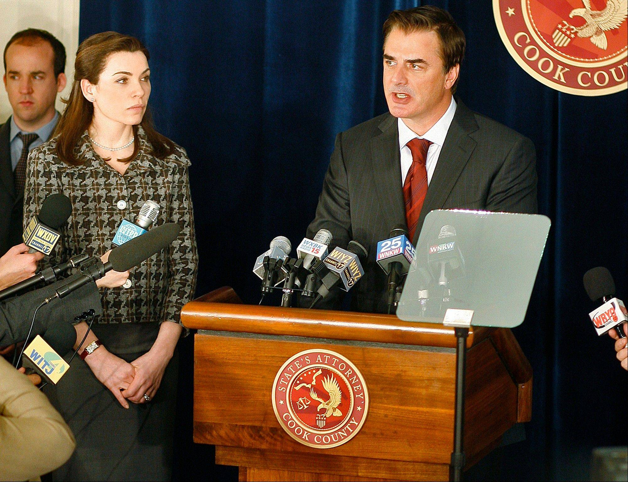 "The high drama of this political season has been echoed by episodic TV like CBS' ""The Good Wife"" with Julianna Margulies, left, and Chris Noth"