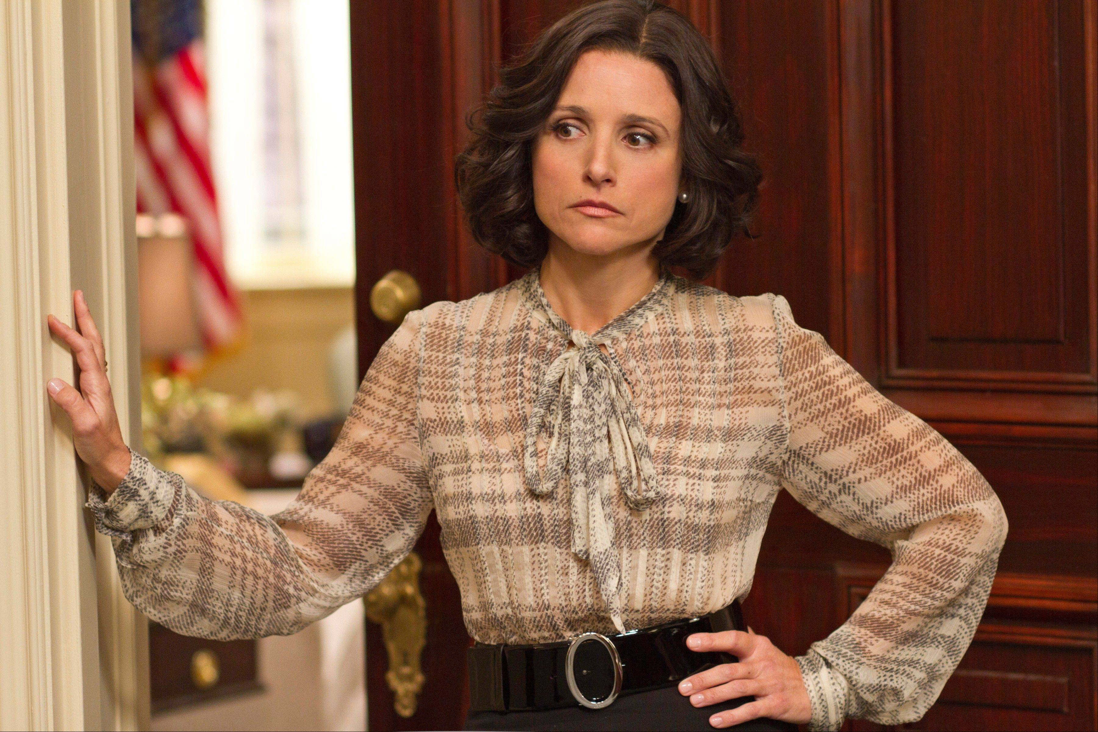 "Julia Louis-Dreyfus portrays Vice President Selina Meyer in the HBO comedy series ""Veep."""