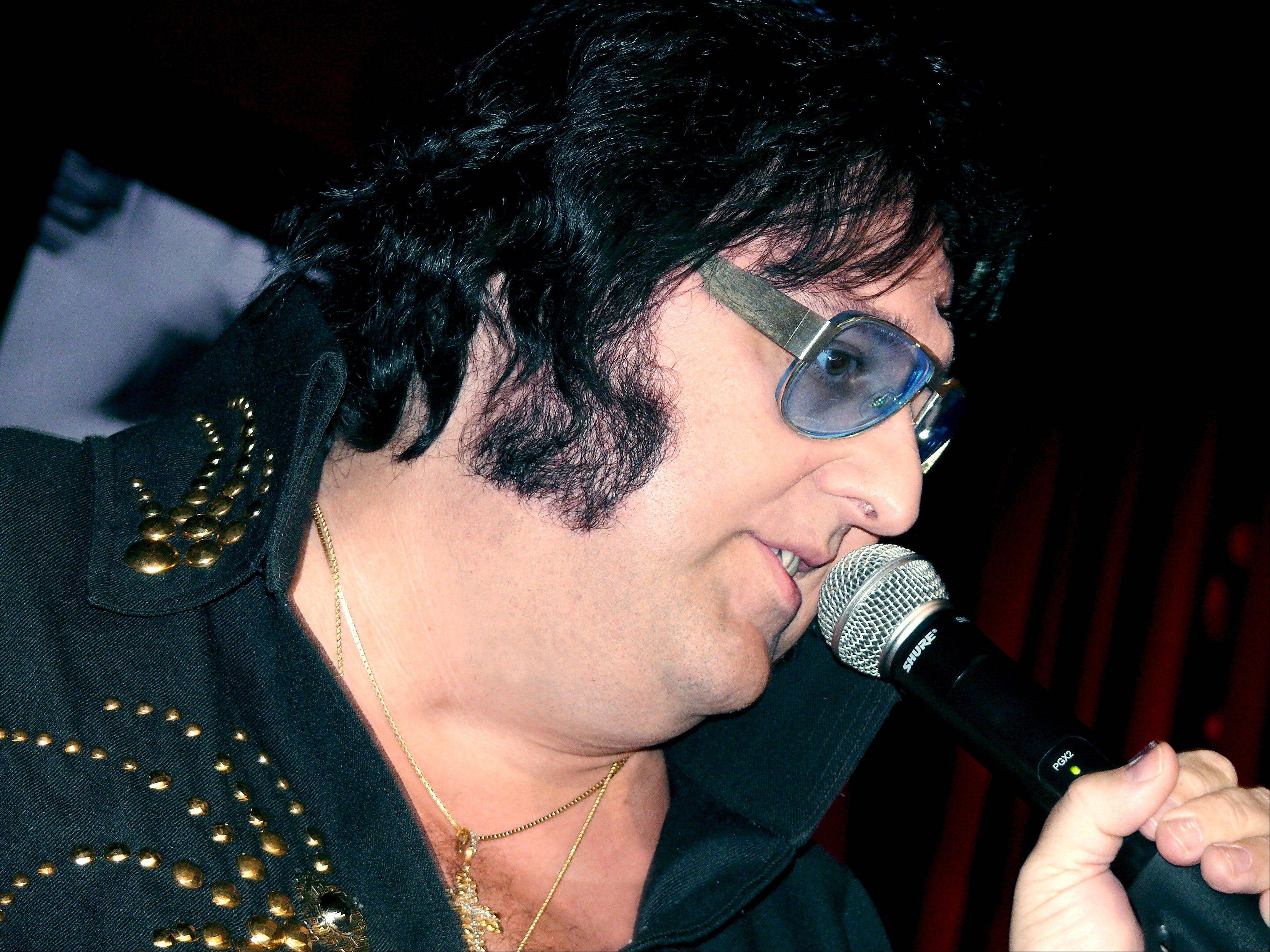 "Pete Vallee in his ""Big Elvis"" show in Las Vegas, Nev. Visitors can catch Vallee's free performances every weekday afternoon except Wednesday at a piano bar at Harrah's casino."