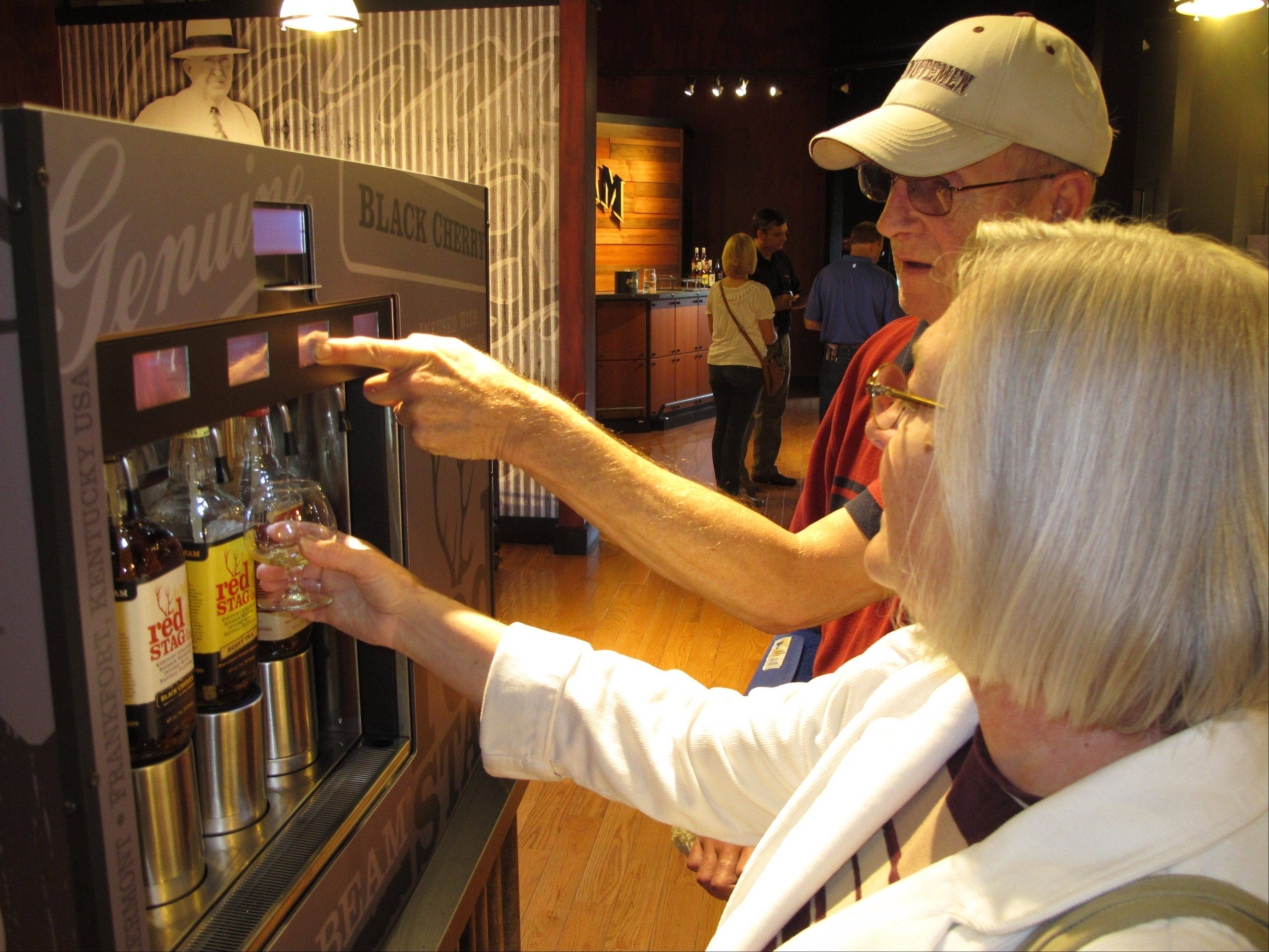 Sylvia Smith of Shelburne, Mass., and her husband William at Jim Beam's new visitors center in Clermont, Ky., during a visit to its central Kentucky distillery.
