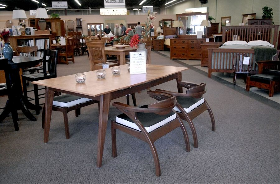 A Solid Curly Maple Dining Room Table And Walnut Chairs At Burress Amish Furniture In Elgin