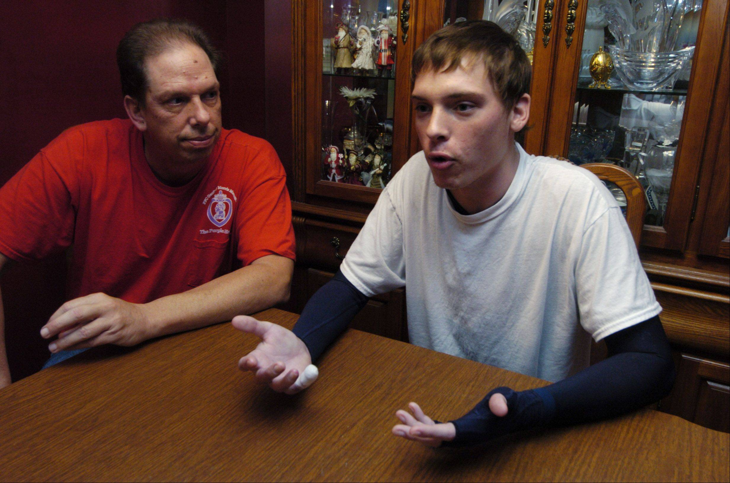 Bob Cassidy is helping care for his son Jason as his home in Schaumburg.